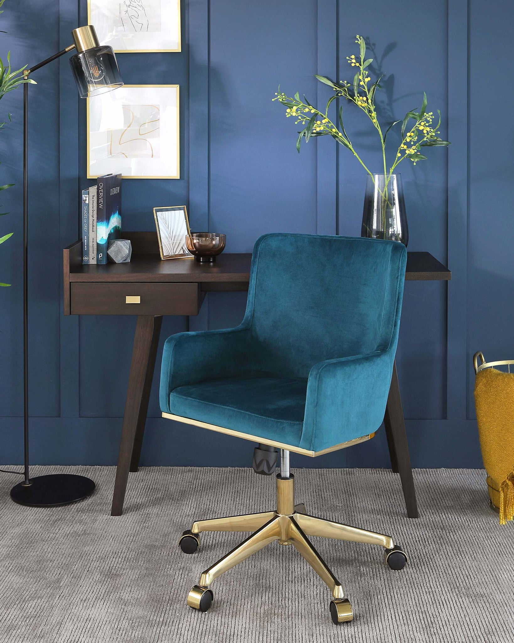 Form Teal Velvet Office Chair with Armrest