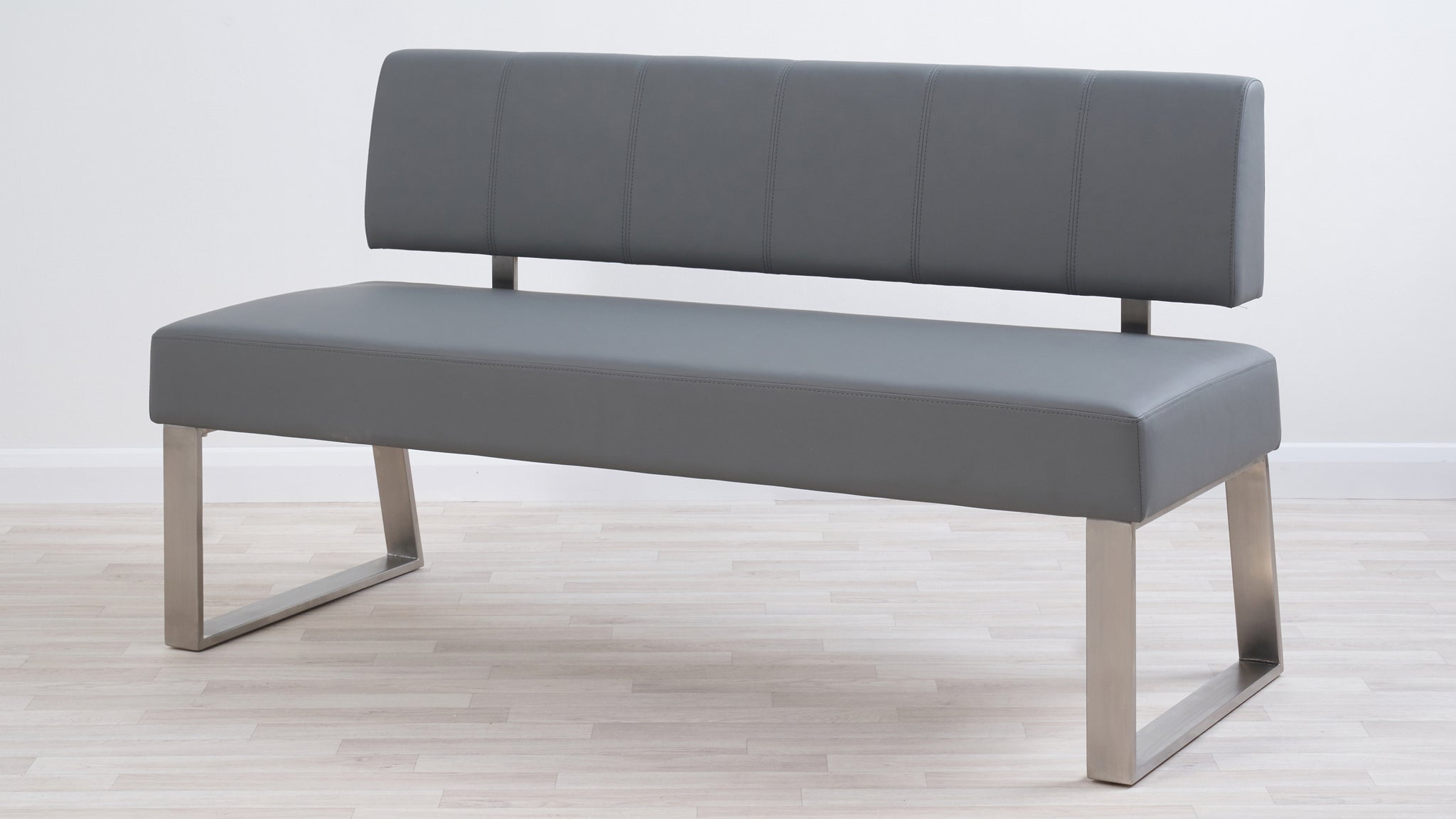 Dover 3 Seater Mid Grey Faux Leather Bench With Backrest
