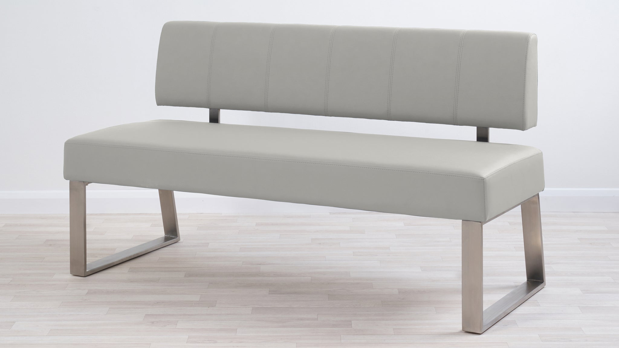 Dover 3 Seater Light Grey Faux Leather Bench With Backrest