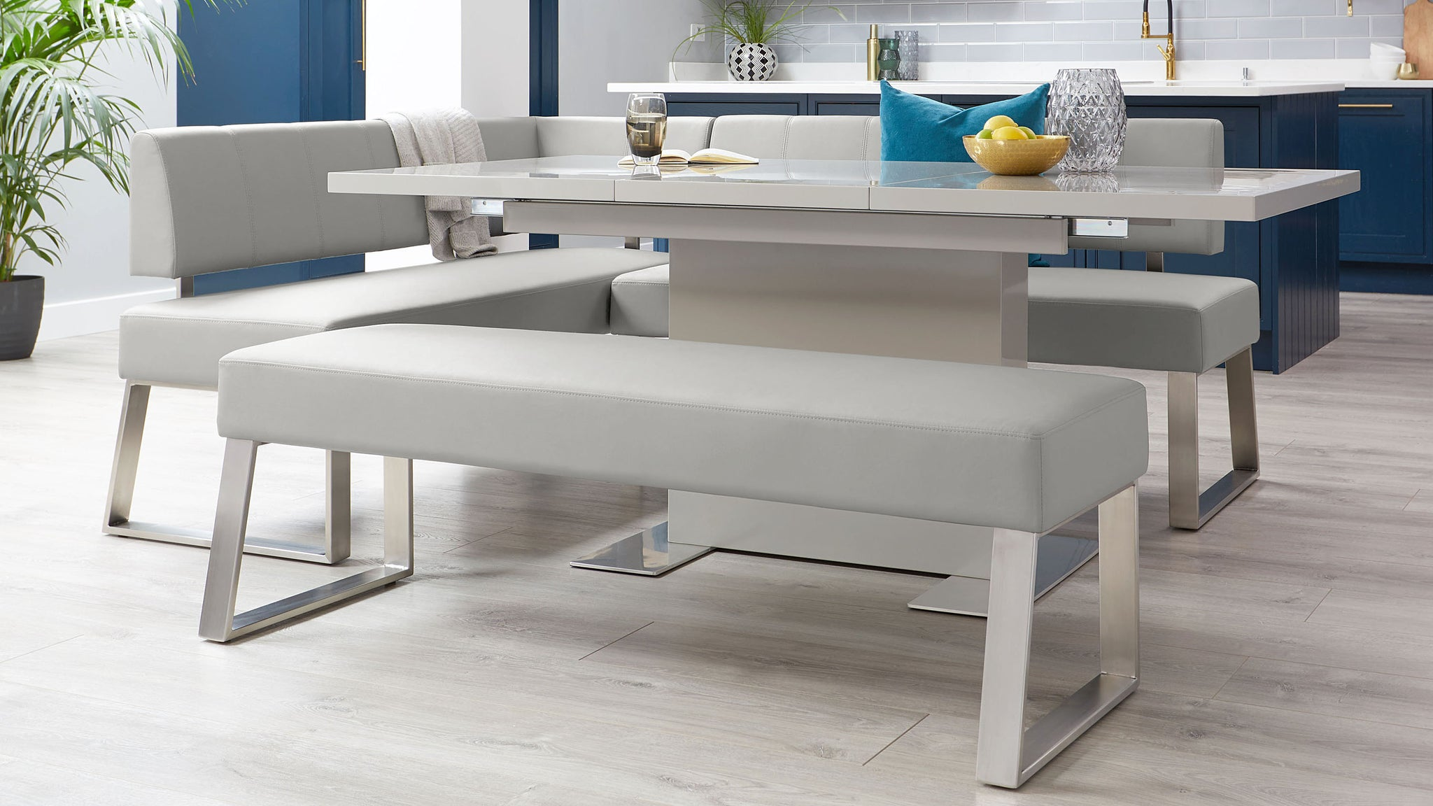 Sanza Grey Gloss And Dover 5 Seater Right Hand Dining Bench Set