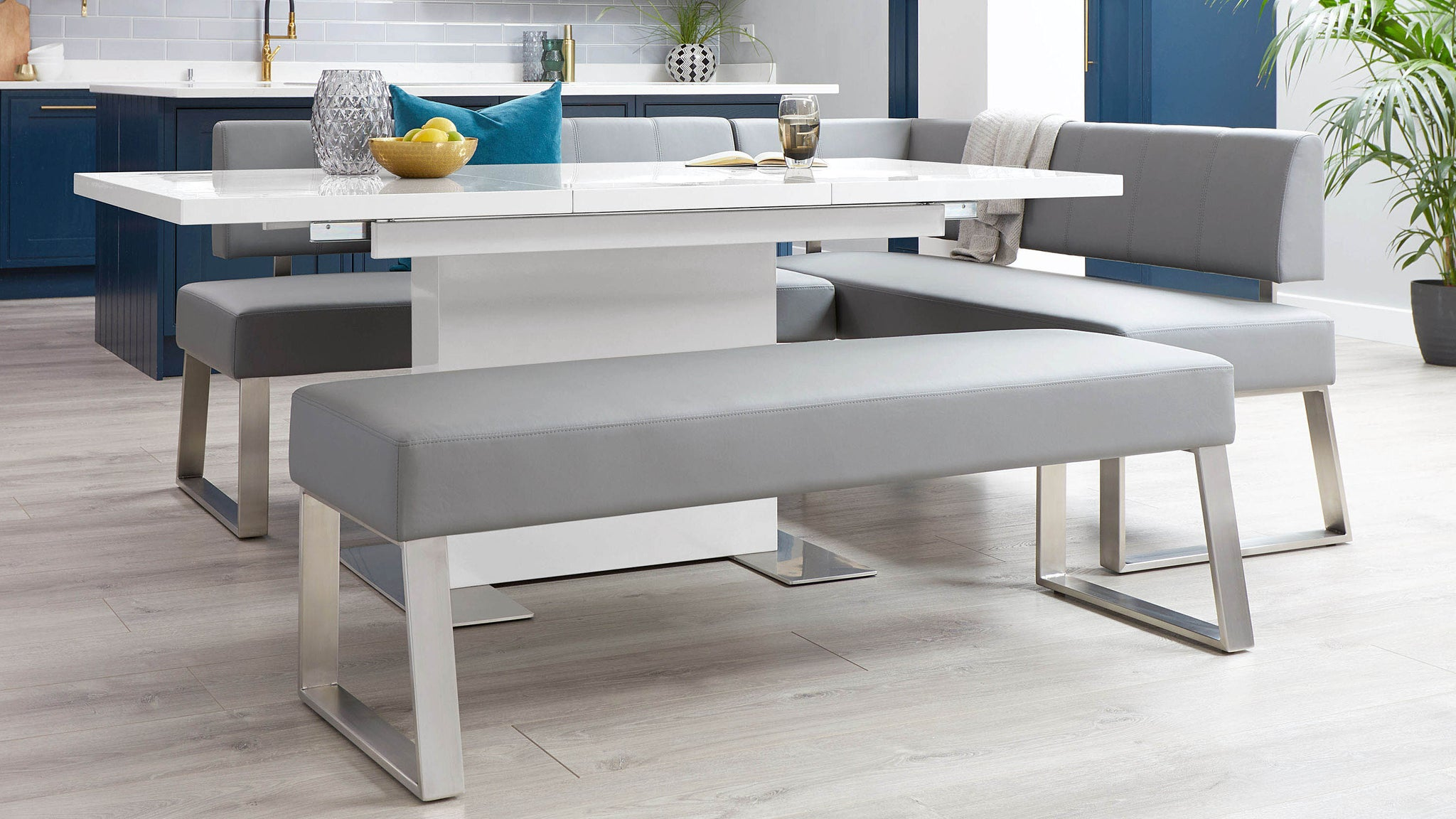 Sanza White Gloss And Dover 5 Seater Left Hand Dining Bench Set