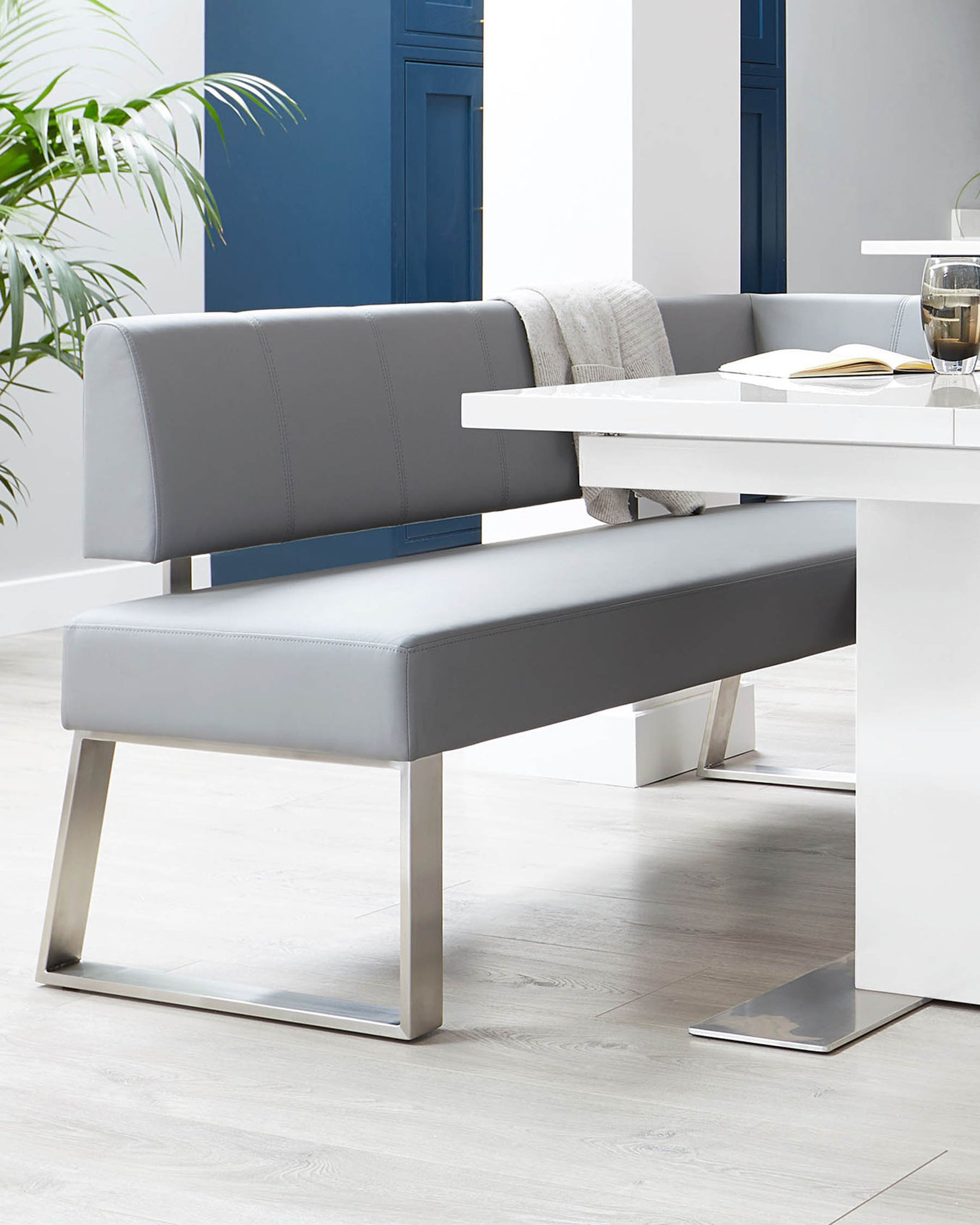 Sanza White Gloss And Dover 5 Seater Right Hand Dining Bench Set