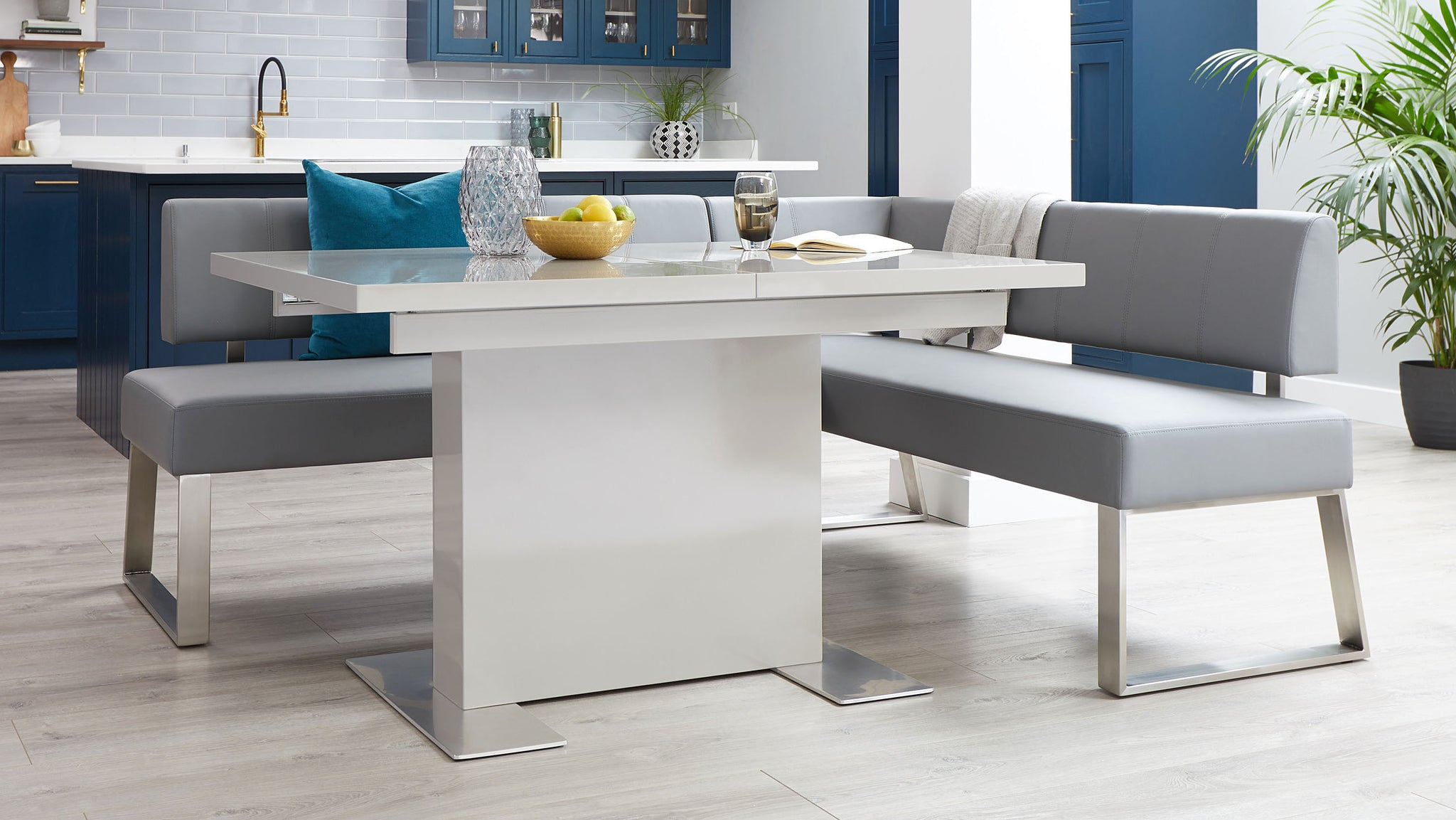Sanza Grey Gloss And Dover 5 Seater Left Hand Dining Bench Set