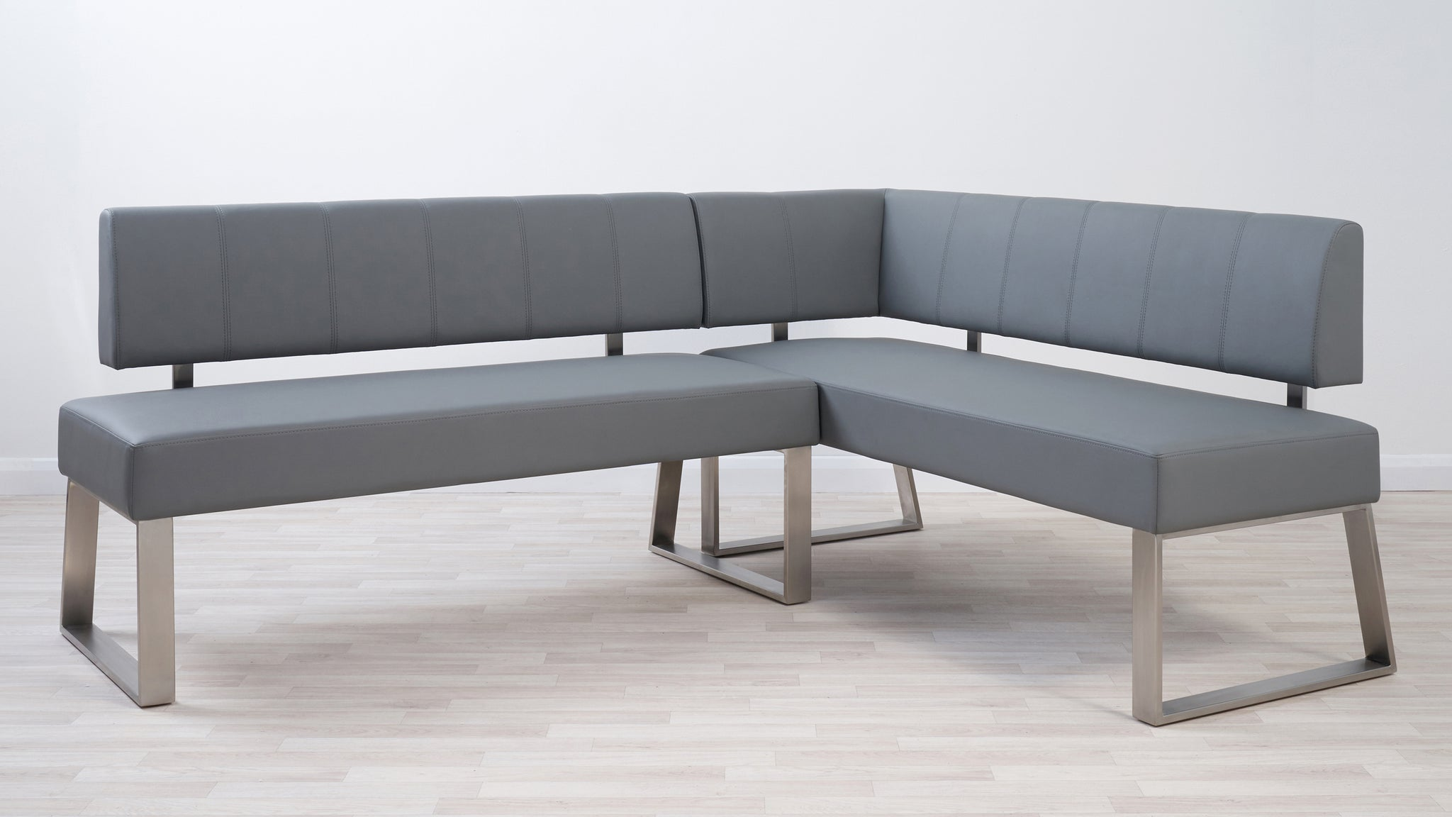 Zen Grey Gloss And Dover Left Hand Corner Bench Set