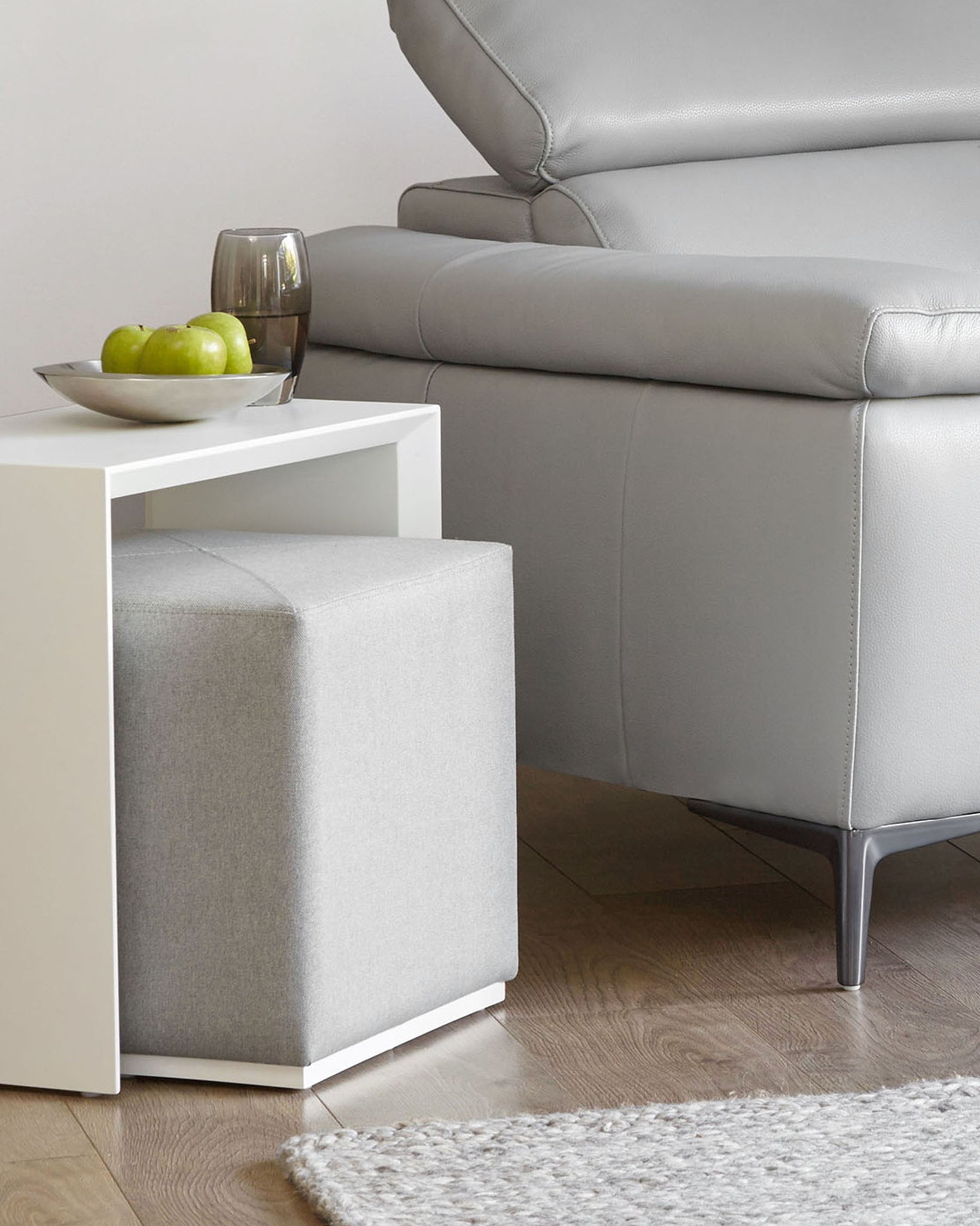 Duo White Gloss Side Table And Silver Grey Fabric Stool Set