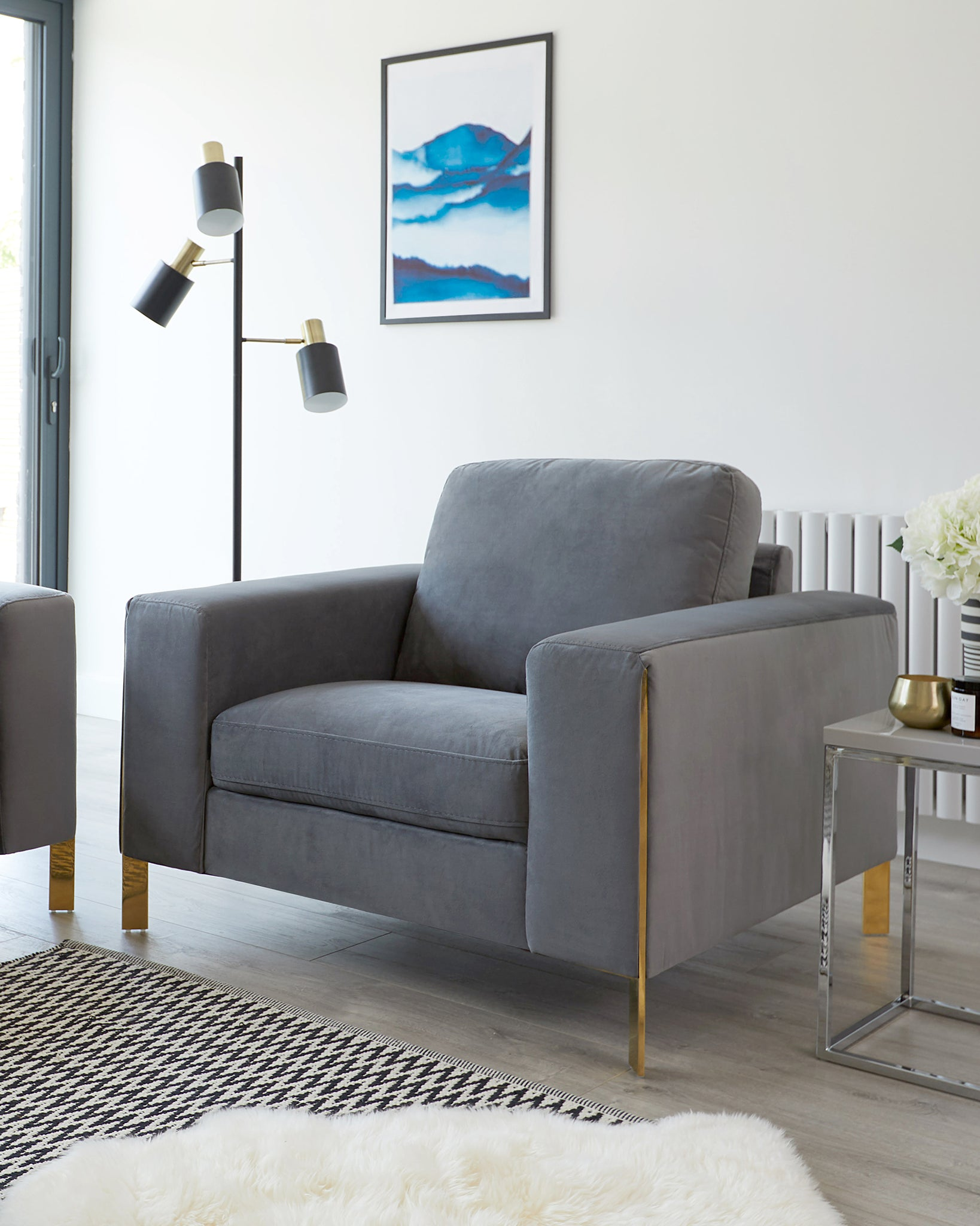 Effie Dark Grey Velvet And Polished Brass Armchair