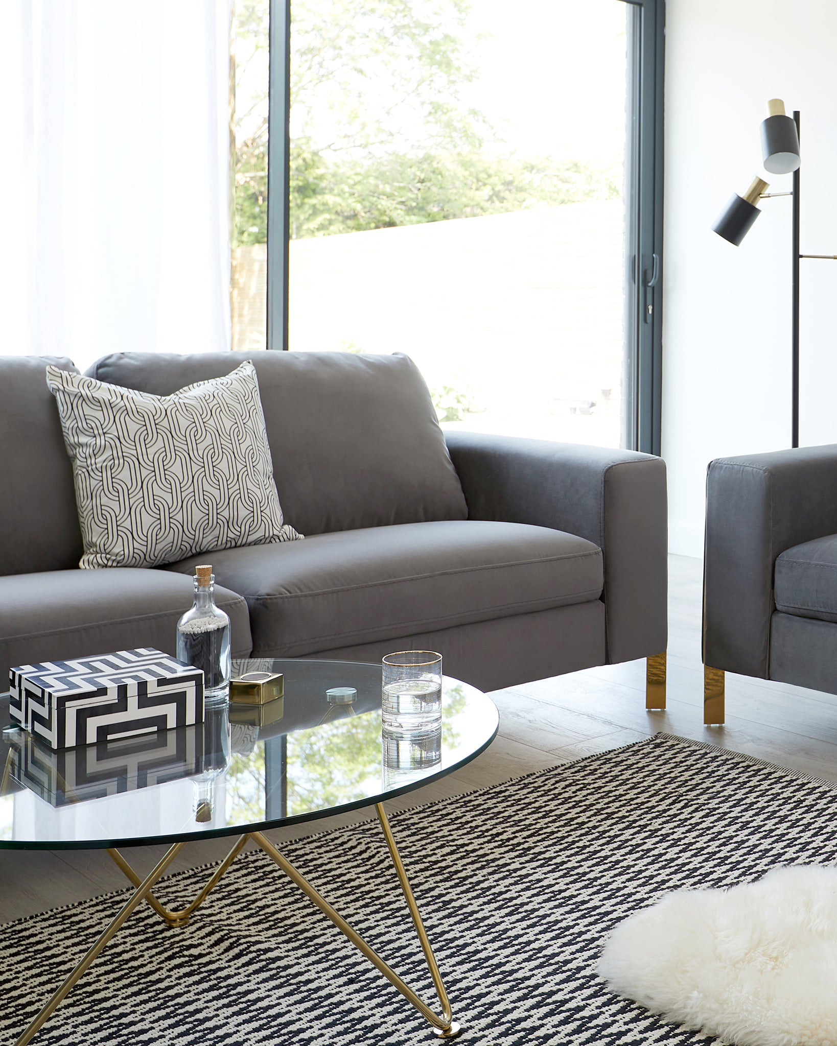 Effie Dark Grey Velvet With Polished Brass 3 Seater Sofa