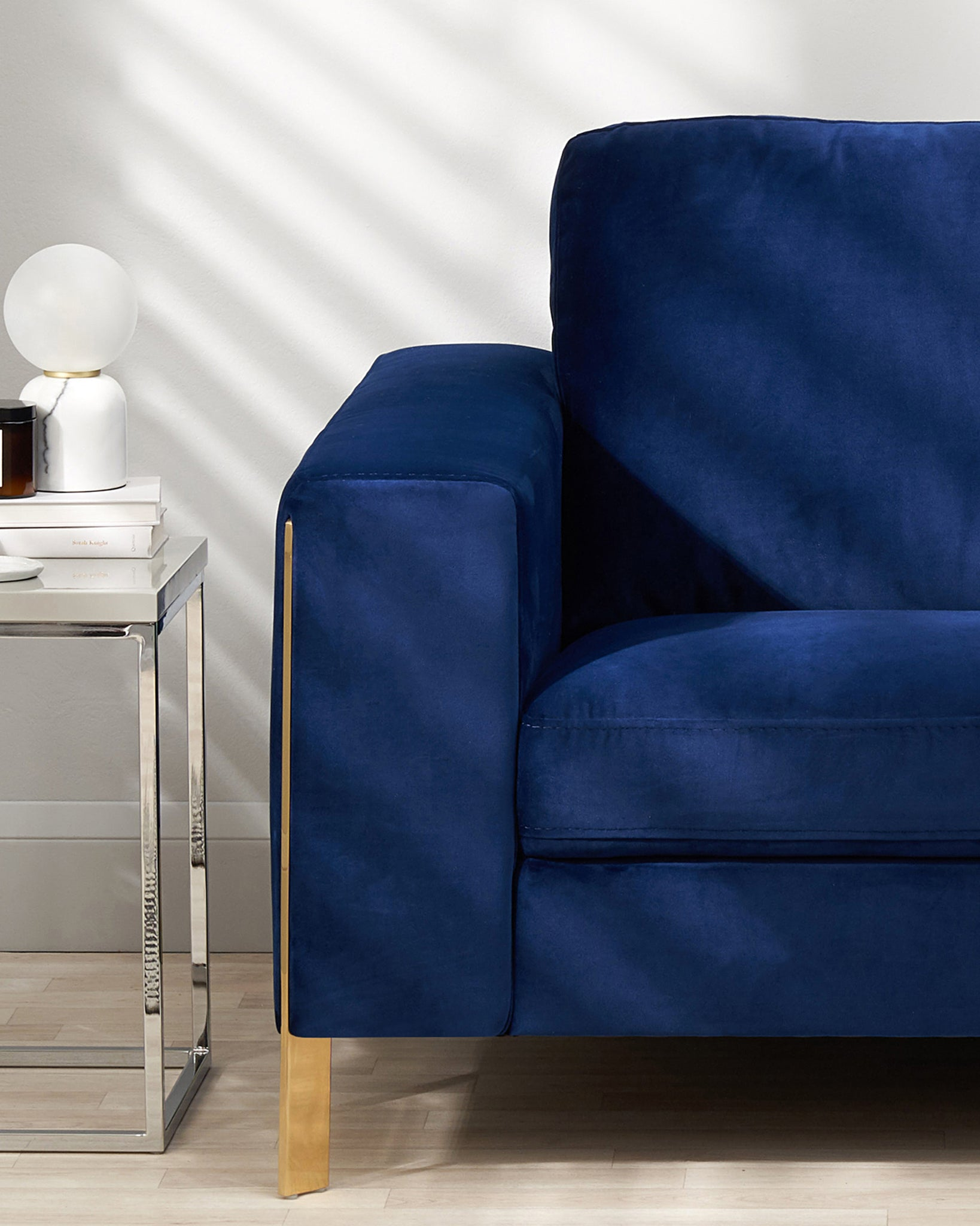Effie Dark Blue Velvet With Polished Brass 2 Seater Sofa