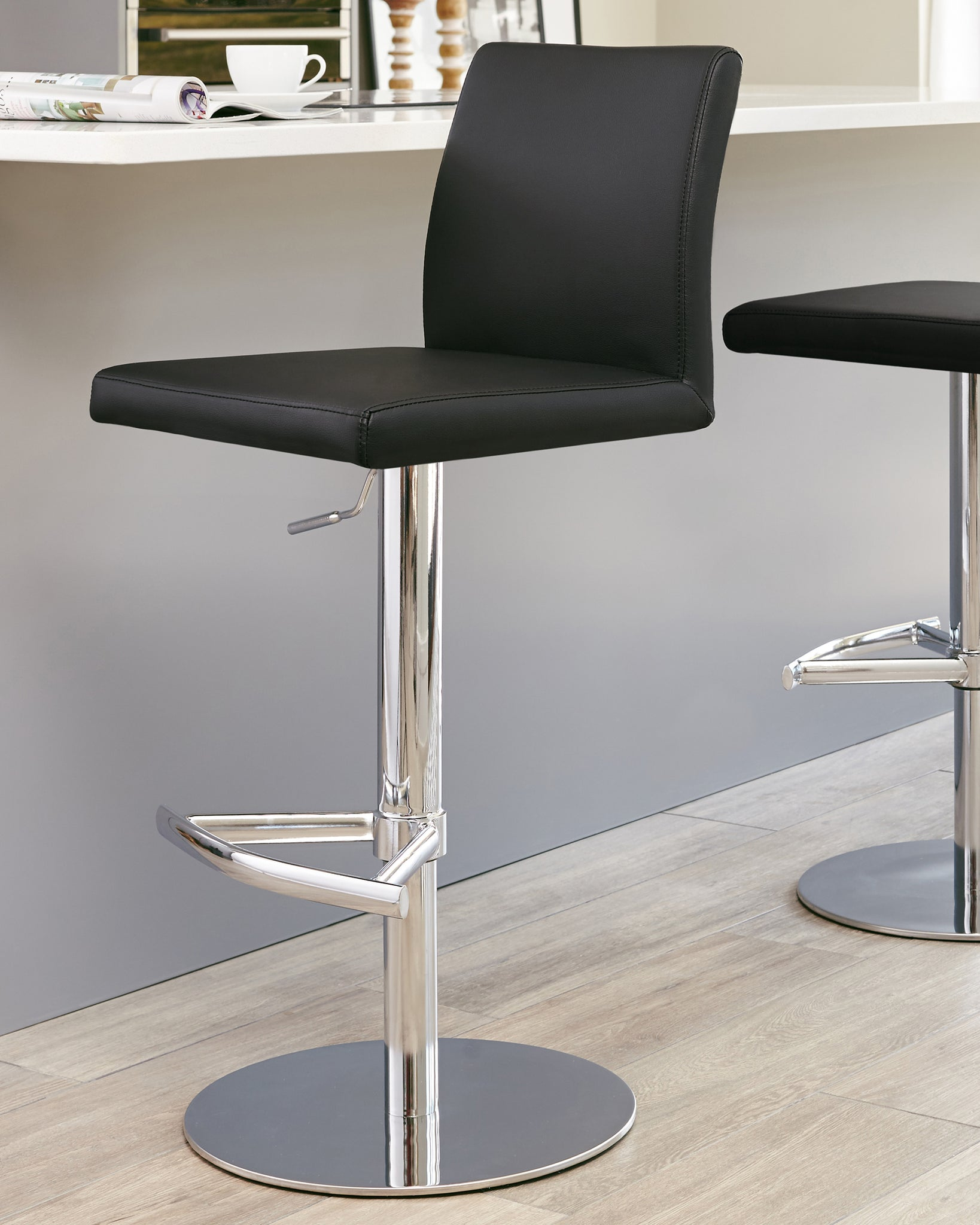 Elise Black & Chrome Gas Lift Bar Stool