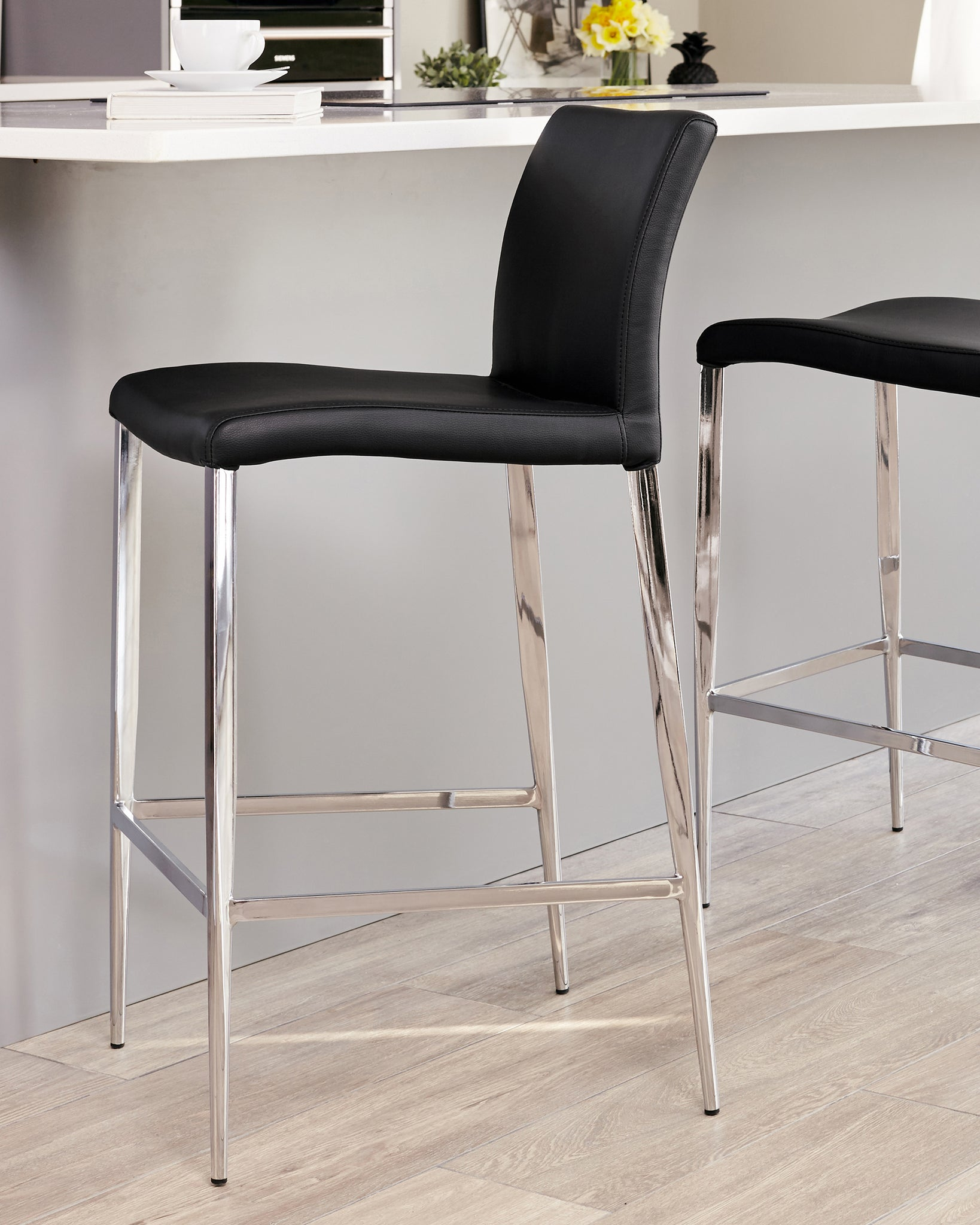 Elise Black Faux Leather Bar Stool - Set Of 2