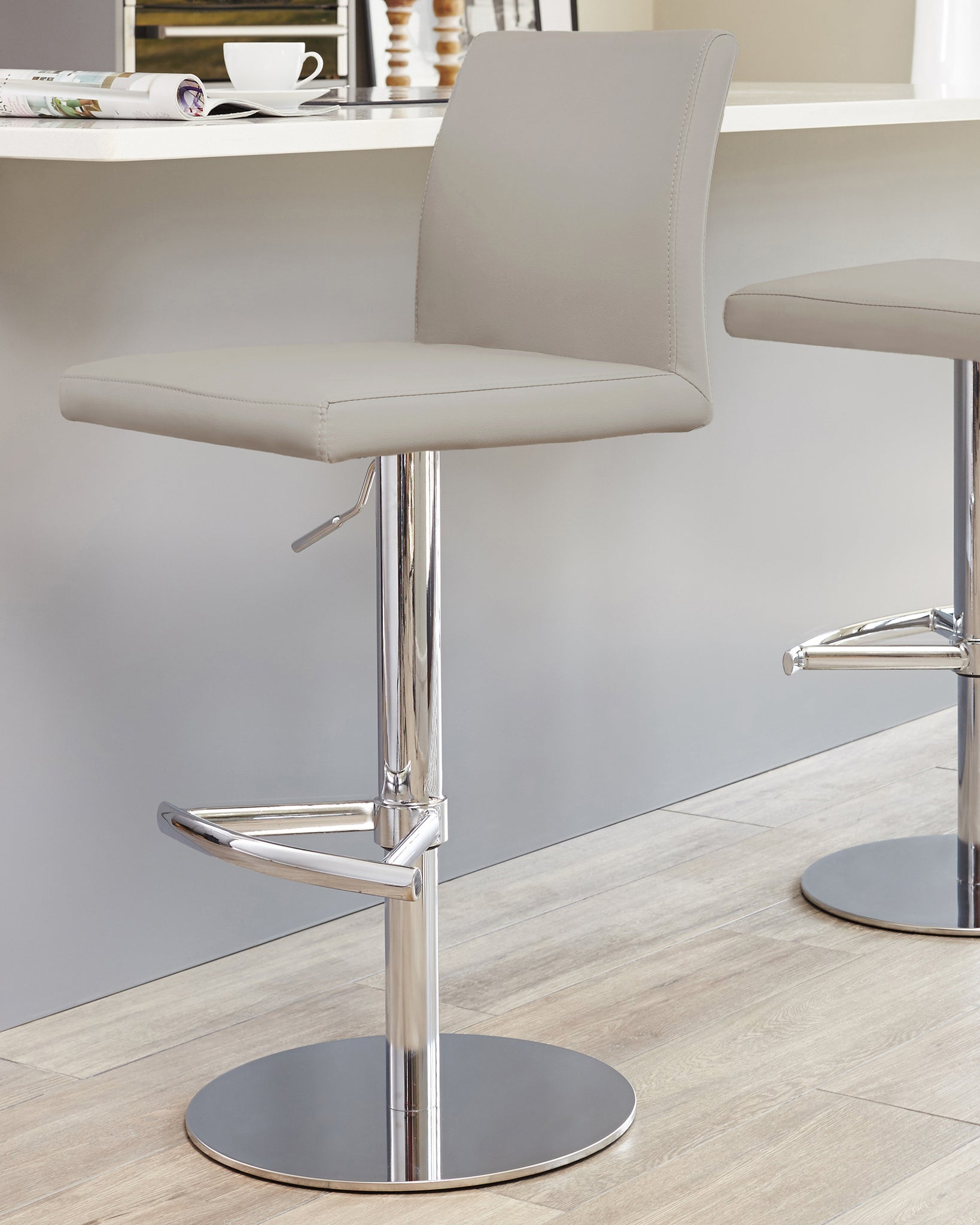 Elise Light Grey & Chrome Gas Lift Bar Stool
