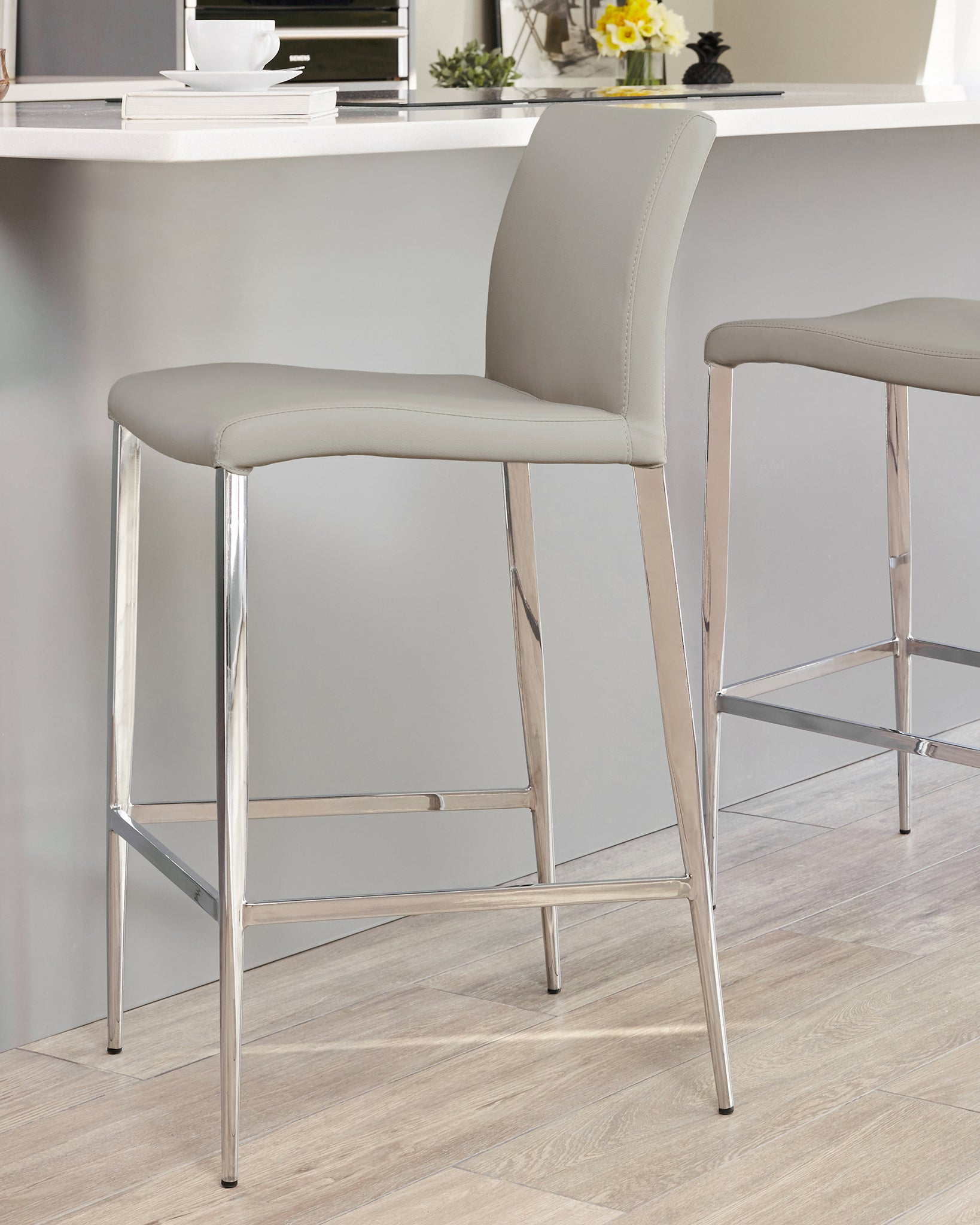 Elise Light Grey Faux Leather Bar Stool - Set Of 2