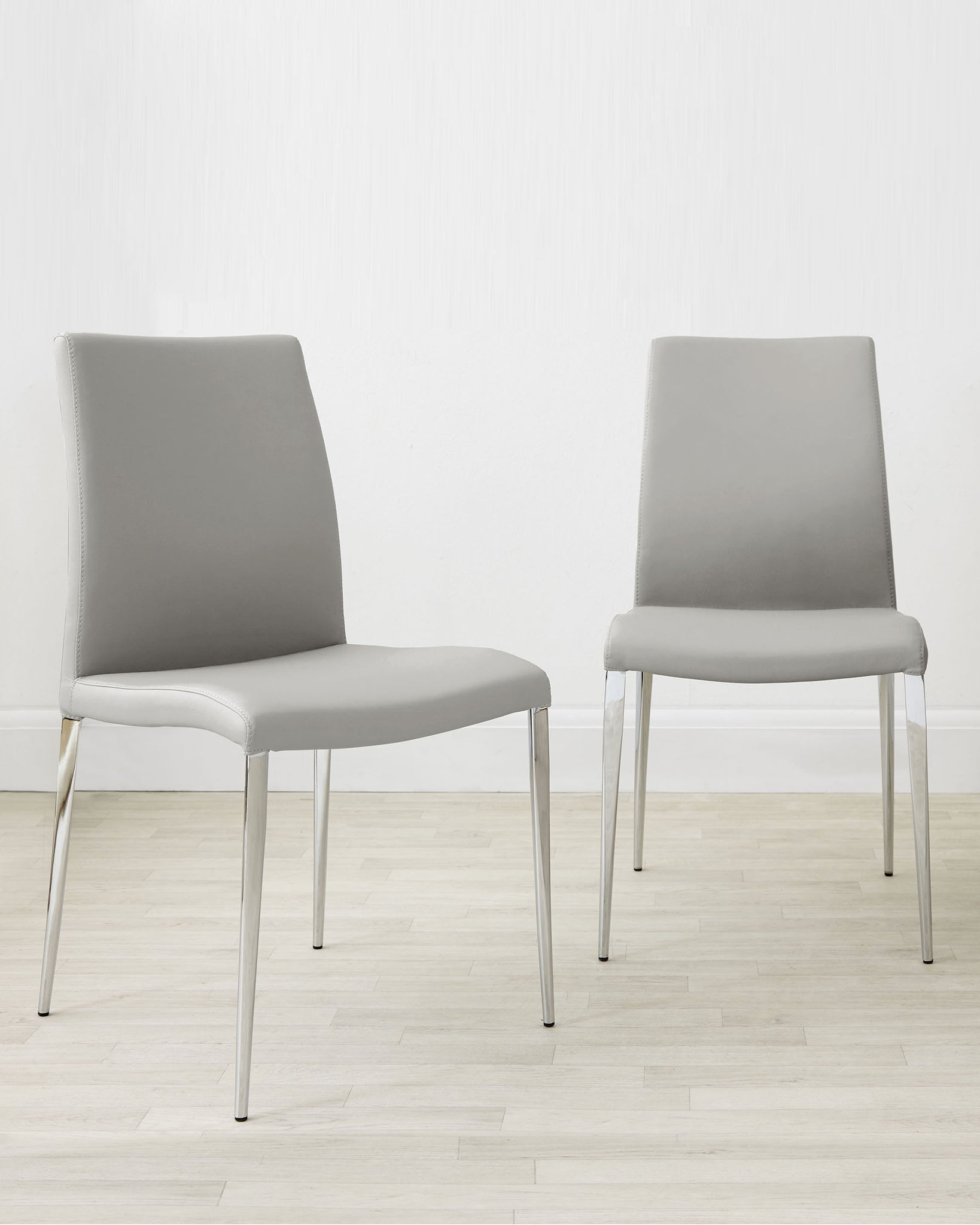 Elise Light Grey Faux Leather And Chrome Dining Chair - Set Of 2