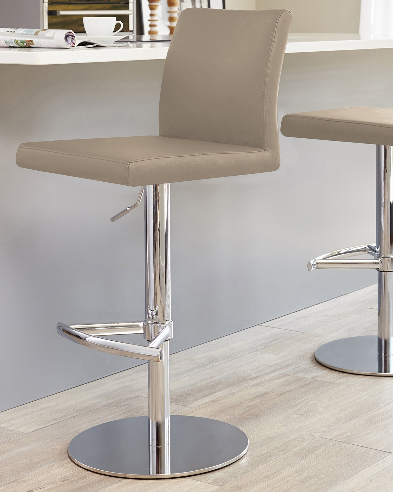 Elise Taupe & Chrome Gas Lift Bar Stool