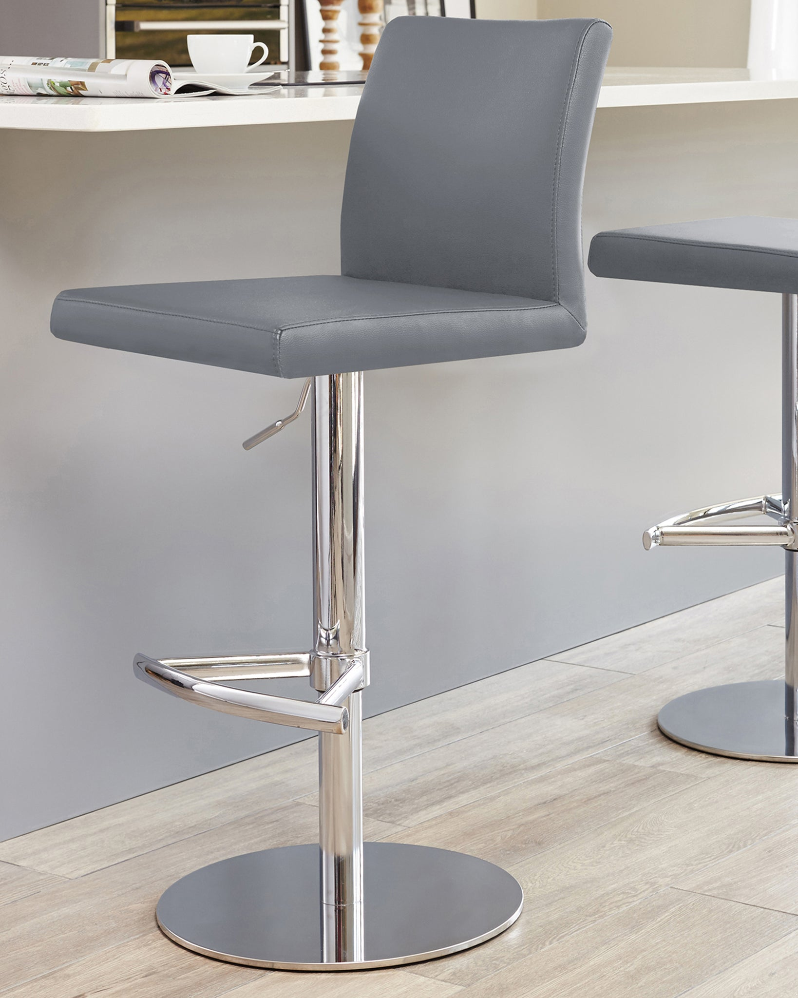 Elise Grey & Chrome Gas Lift Bar Stool
