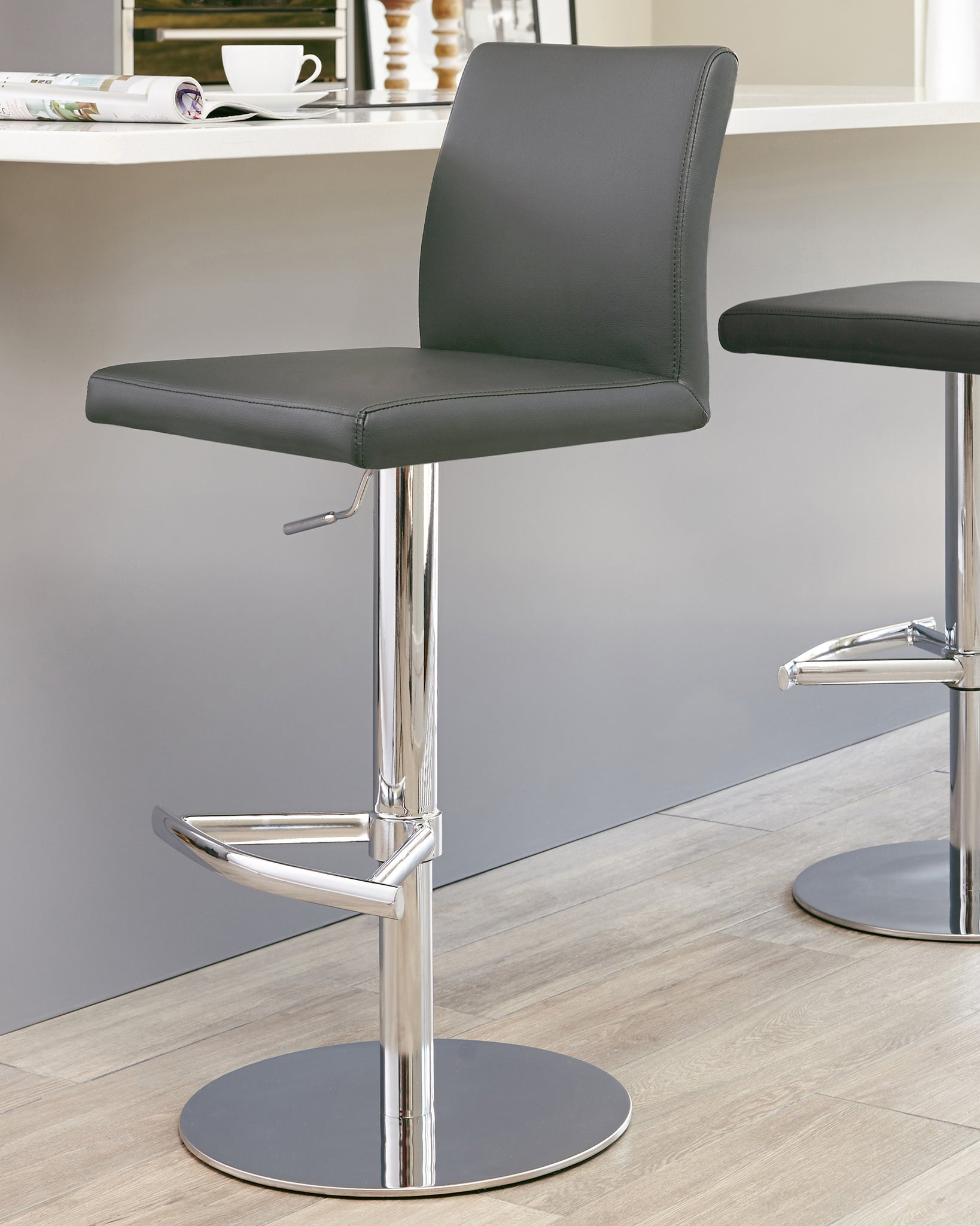 Elise Dark Grey & Chrome Gas Lift Bar Stool