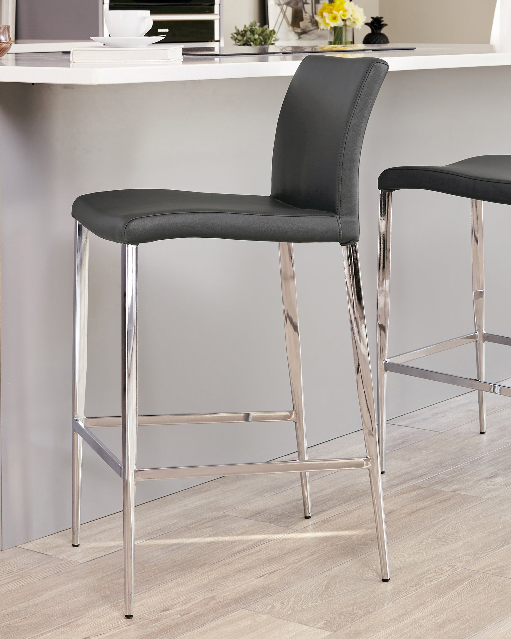 Elise Dark Grey Faux Leather Bar Stool - Set Of 2