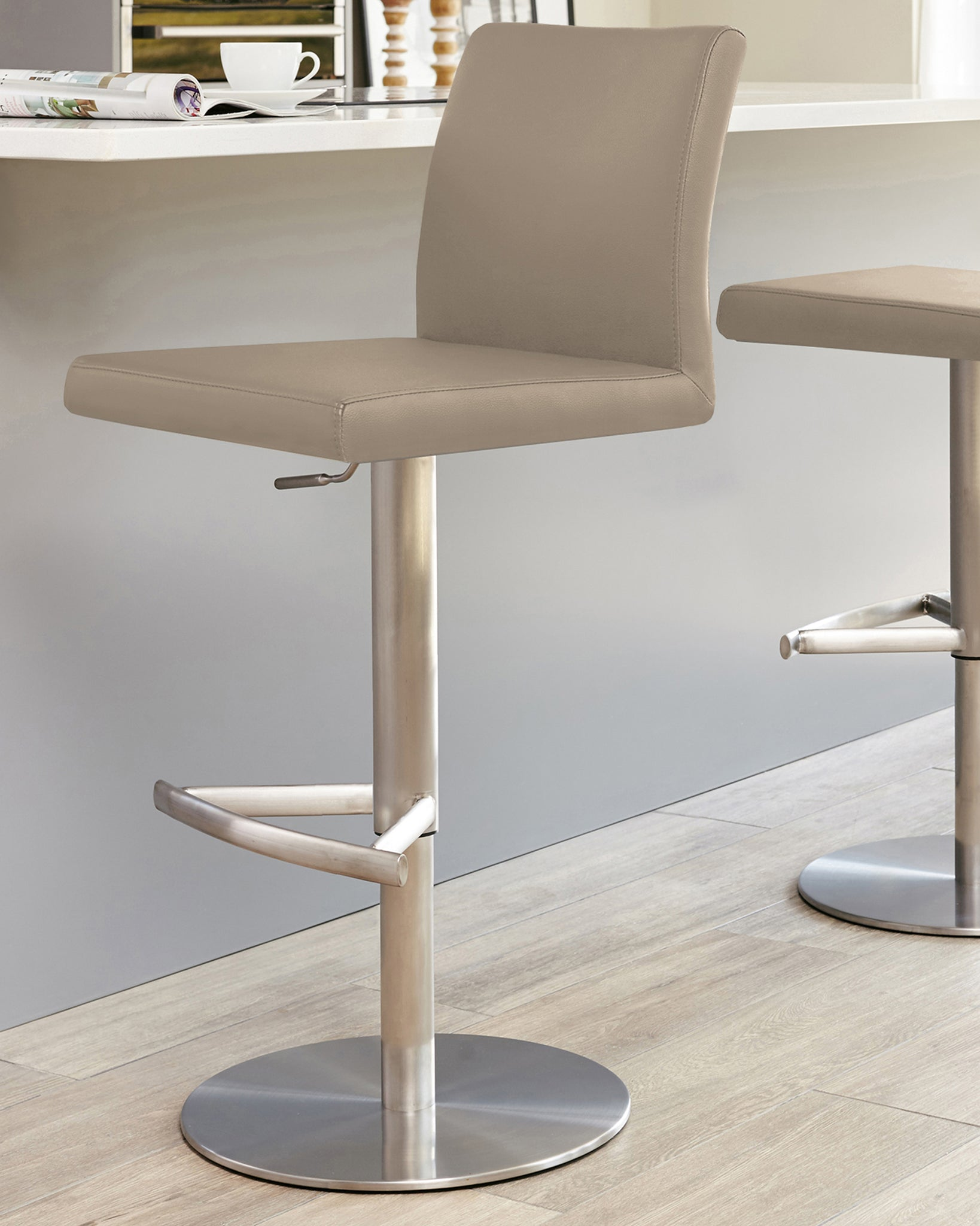 Elise Taupe & Stainless Steel Gas Lift Bar Stool
