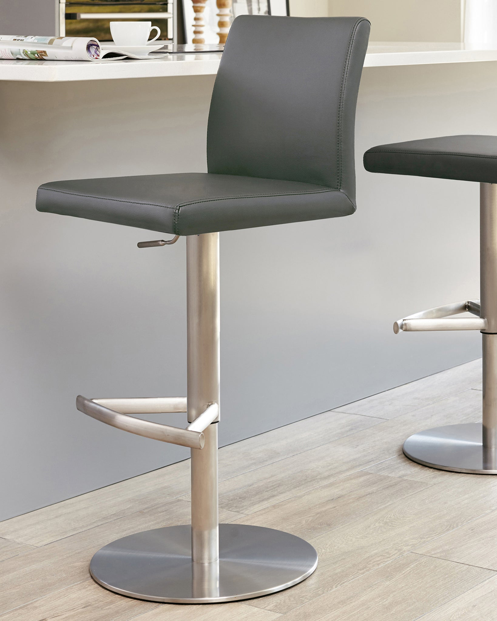Elise Dark Grey & Stainless Steel Gas Lift Bar Stool