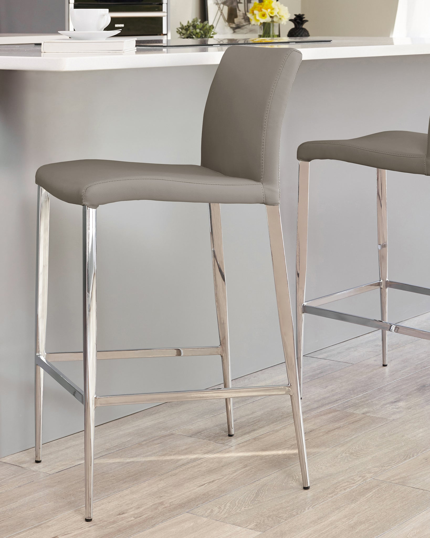 Elise Taupe Faux Leather Bar Stool - Set Of 2