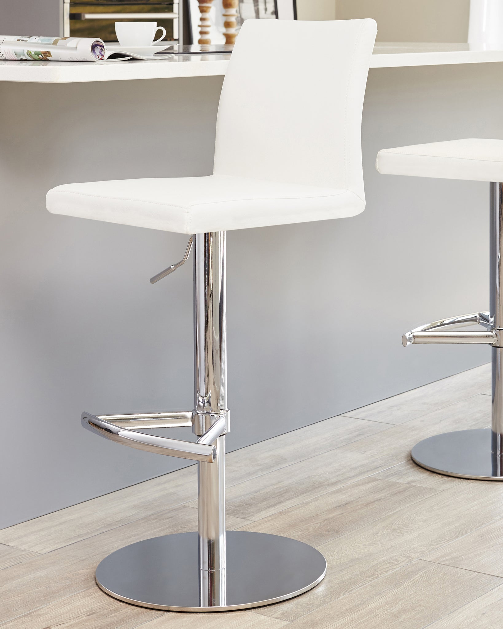 Elise White & Chrome Gas Lift Bar Stool