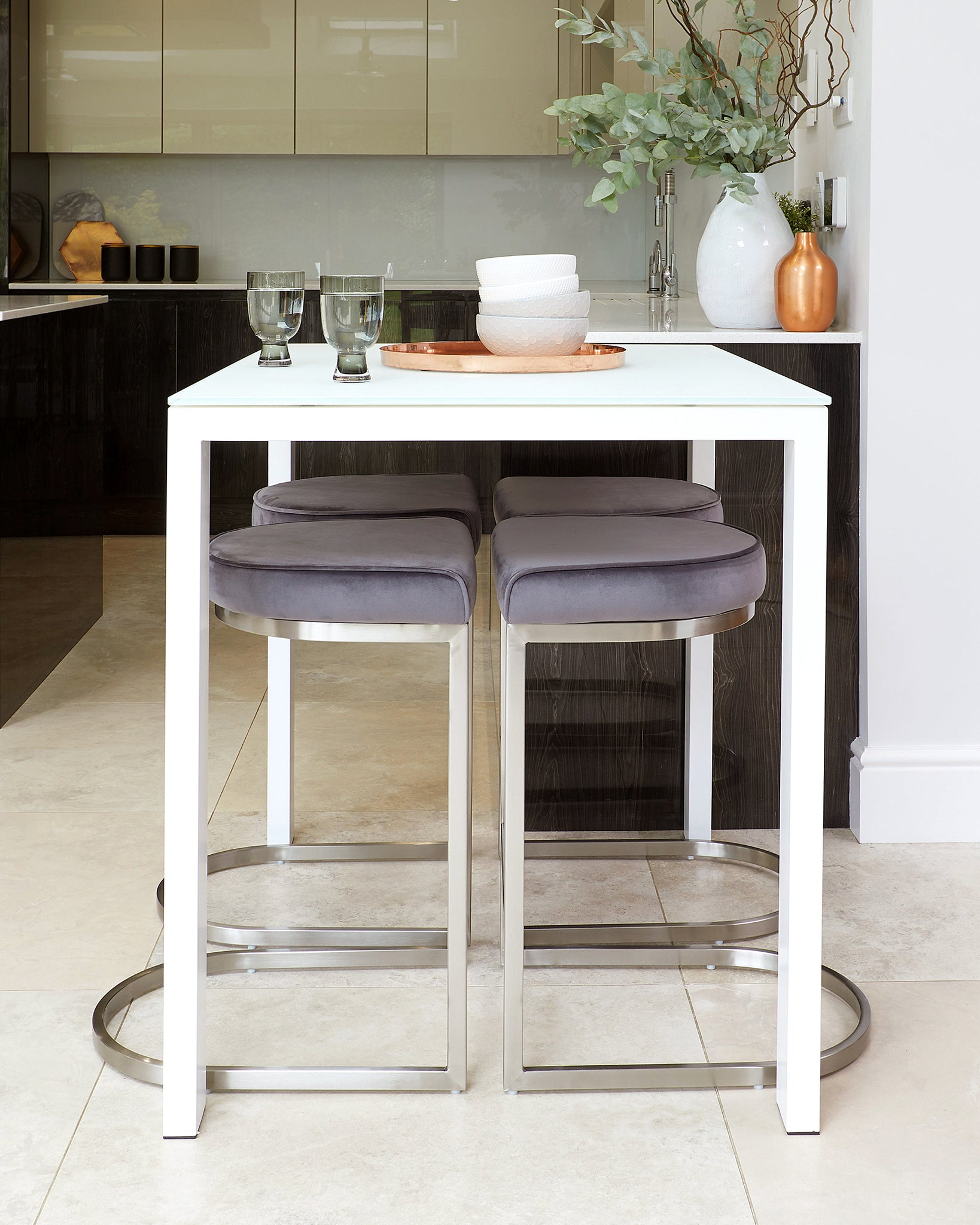 Ella Bar Table And Form Grey Velvet Bar Stool Set