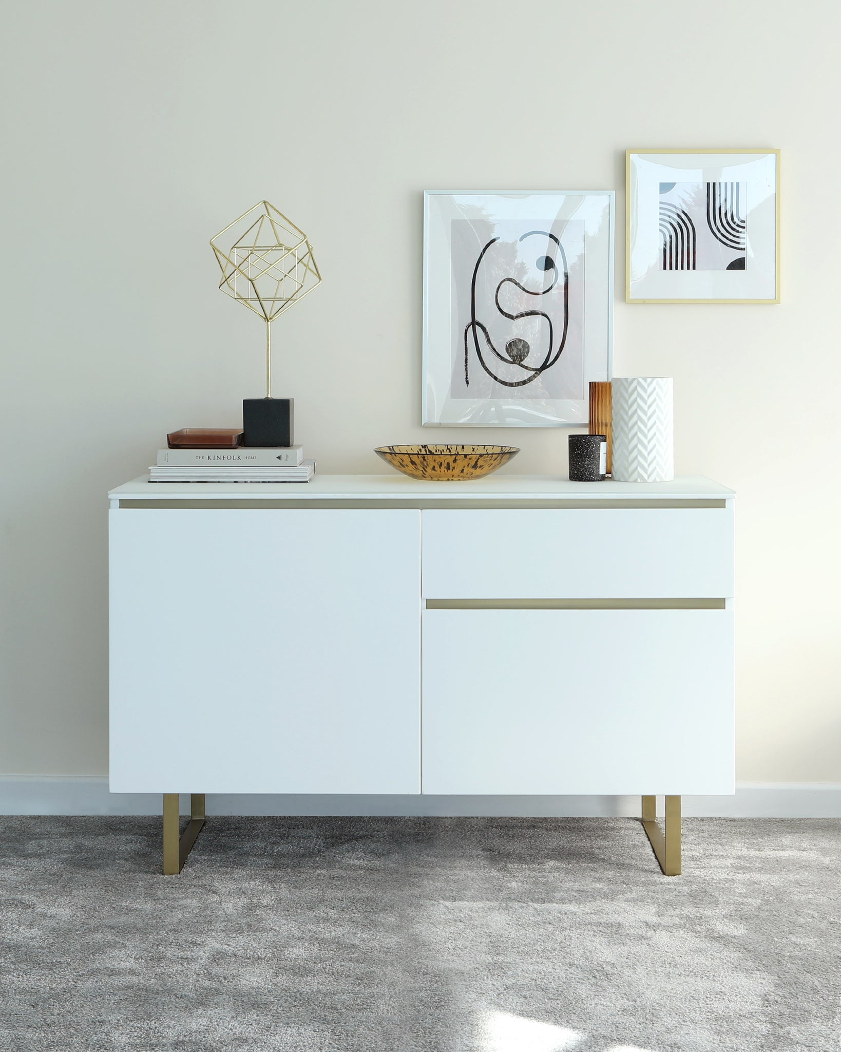 Elton Matt White Frosted Glass And Brass Sideboard