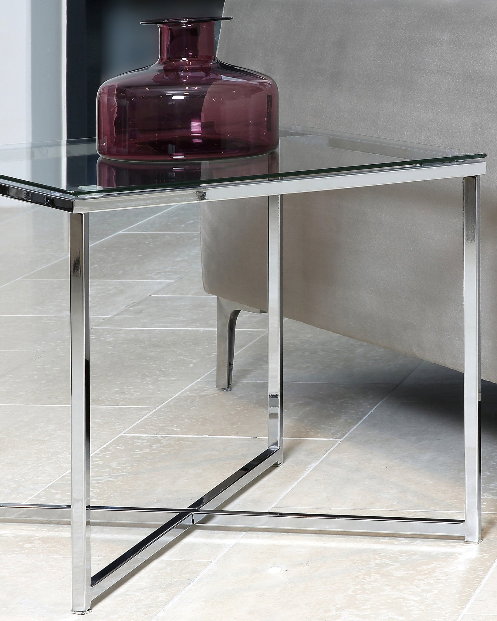 Emery Square Clear Glass And Chrome Lamp Table