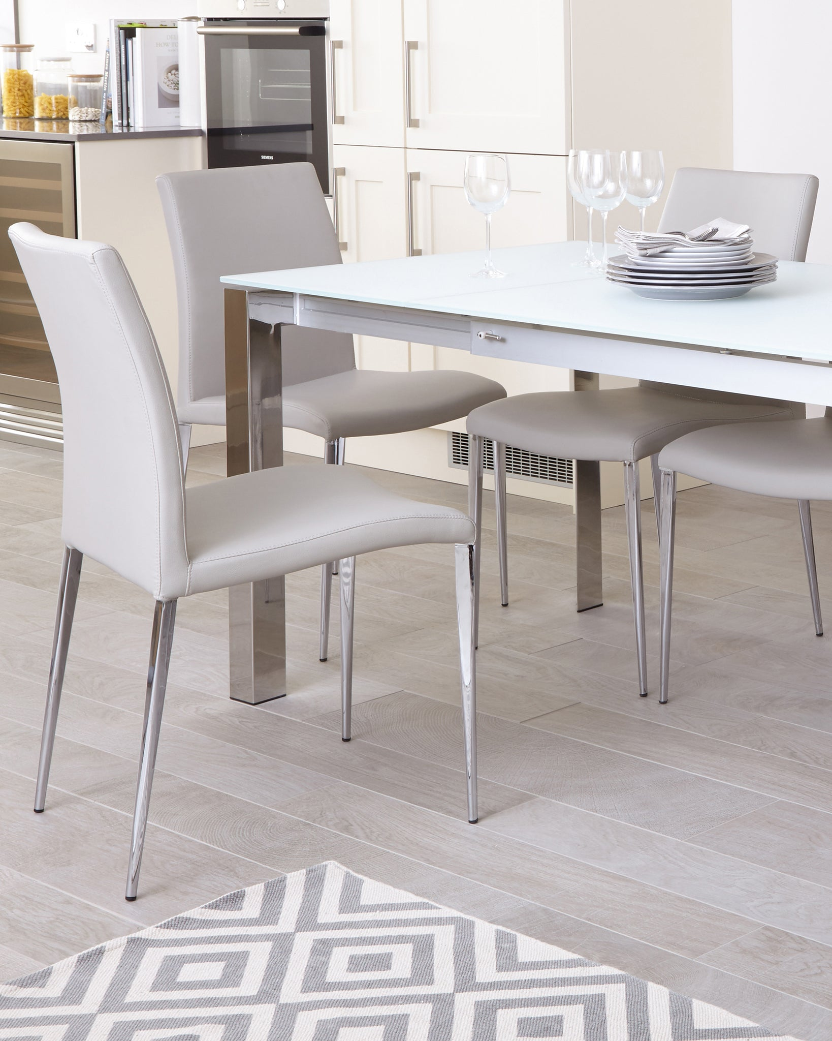 Eve White Frosted Glass With Chrome And Elise Extending Dining Set