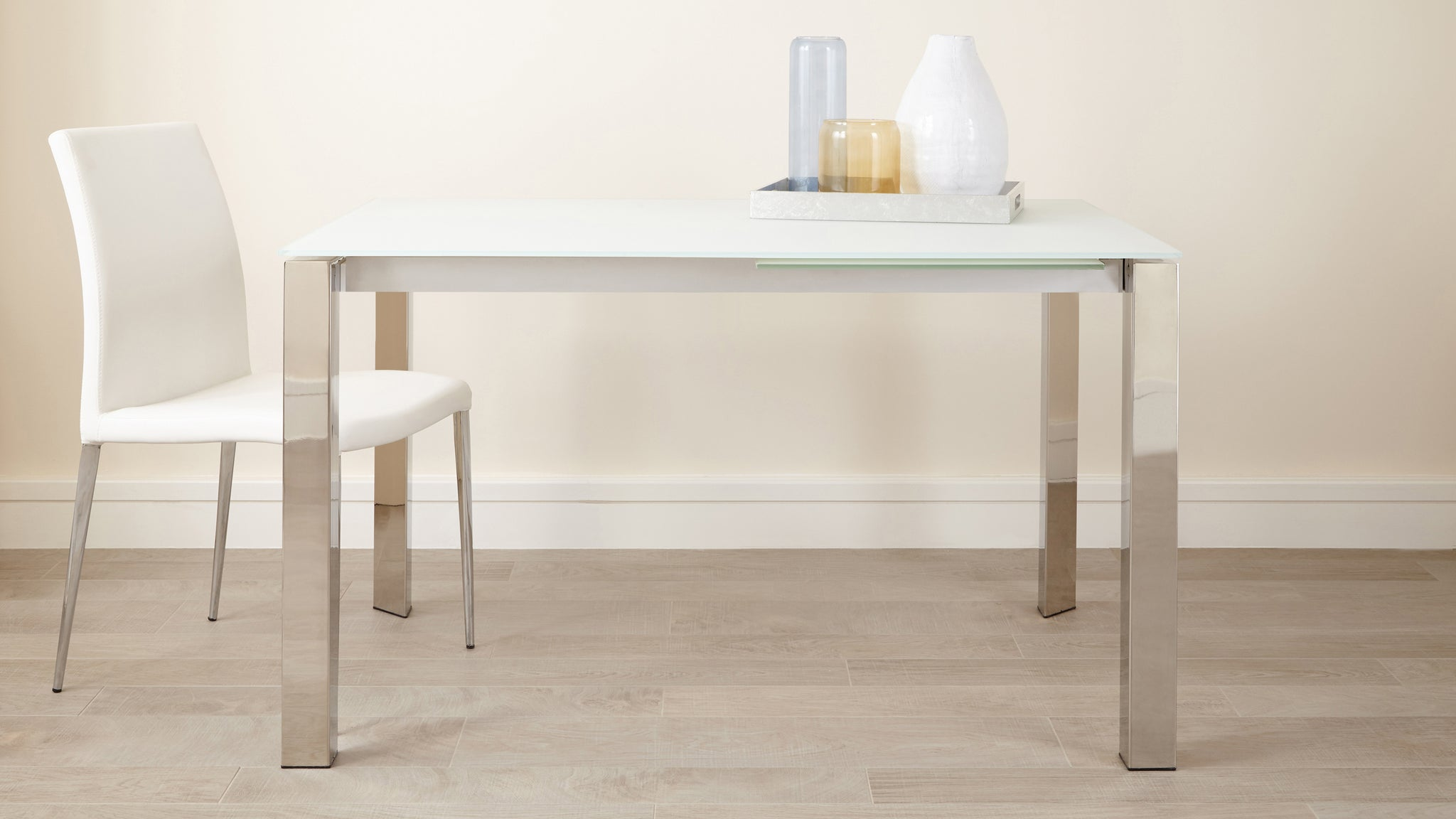 Eve Frosted Glass Extending Dining Table In White And Chrome