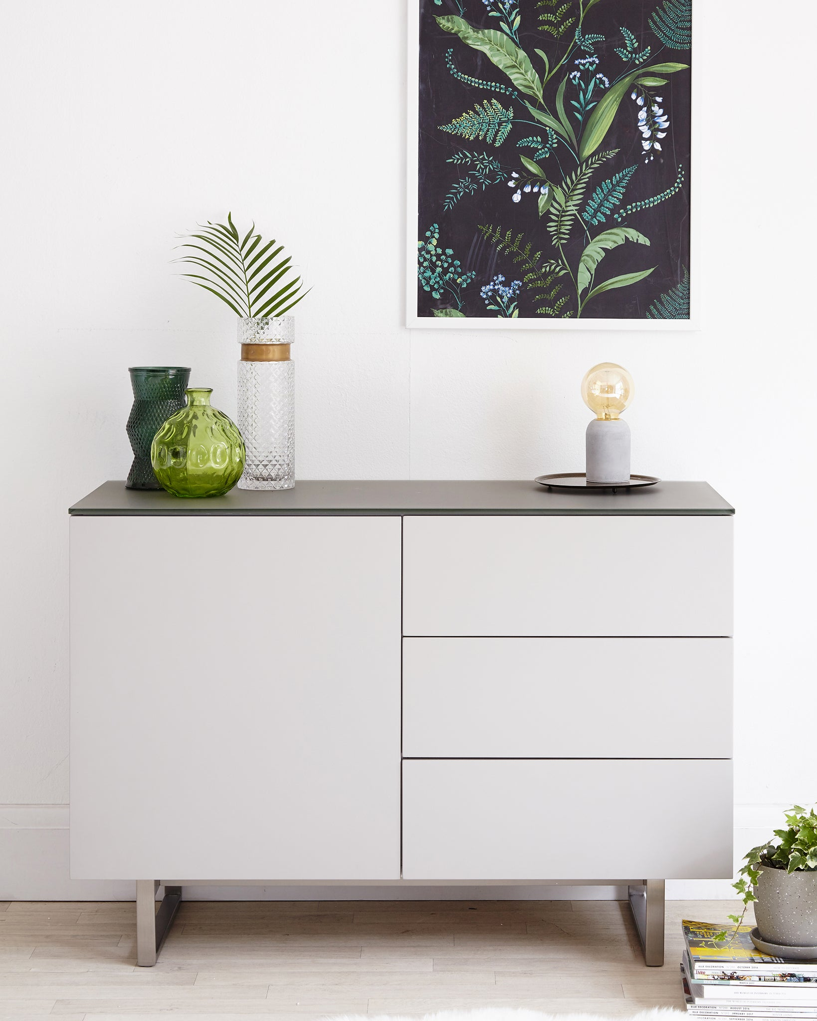 Eve Compact Frosted Grey Tempered Glass And Matt Grey Sideboard
