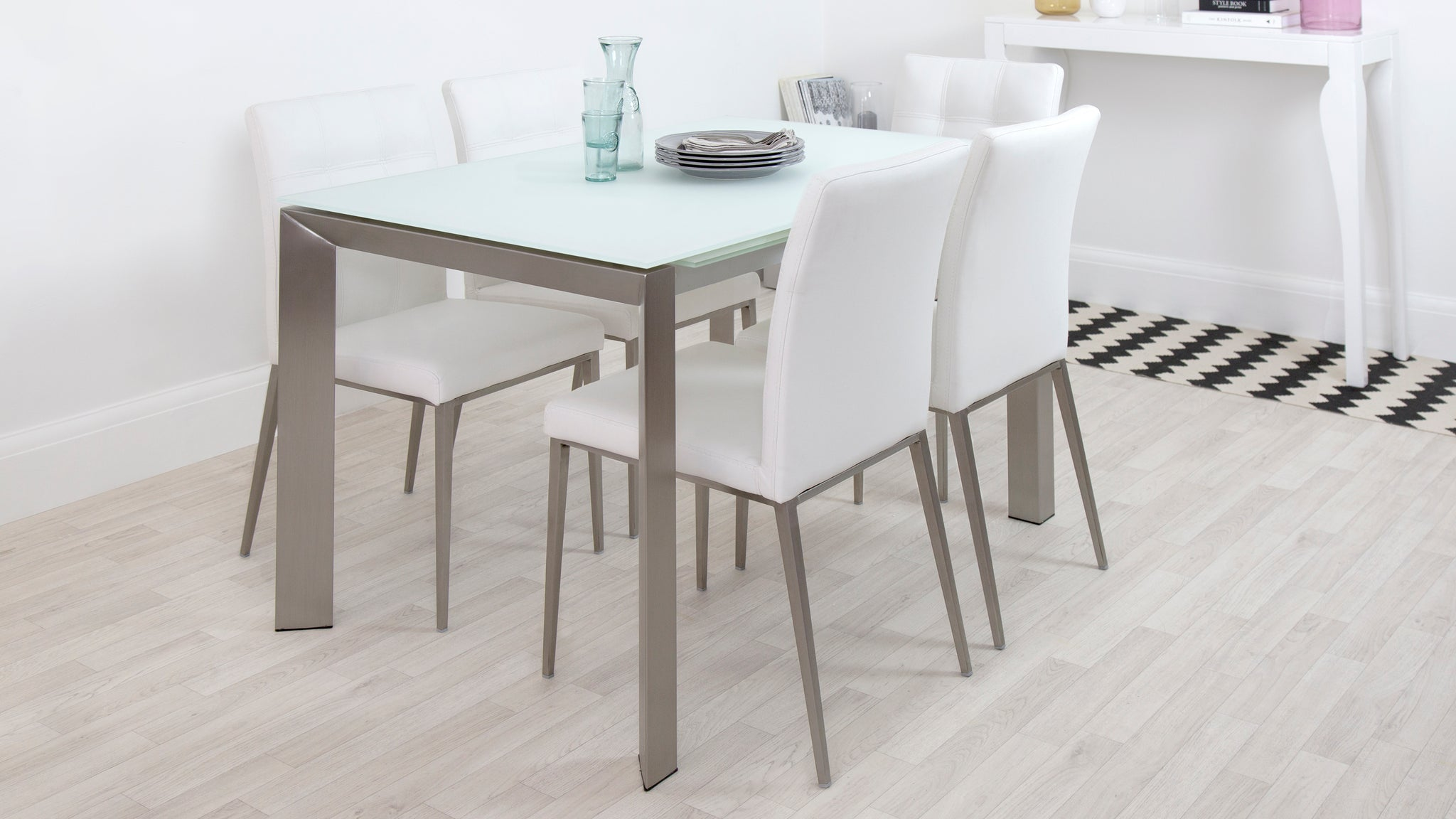 Eve White Frosted Glass With Brushed Stainless Steel And Moda Extending Dining Set