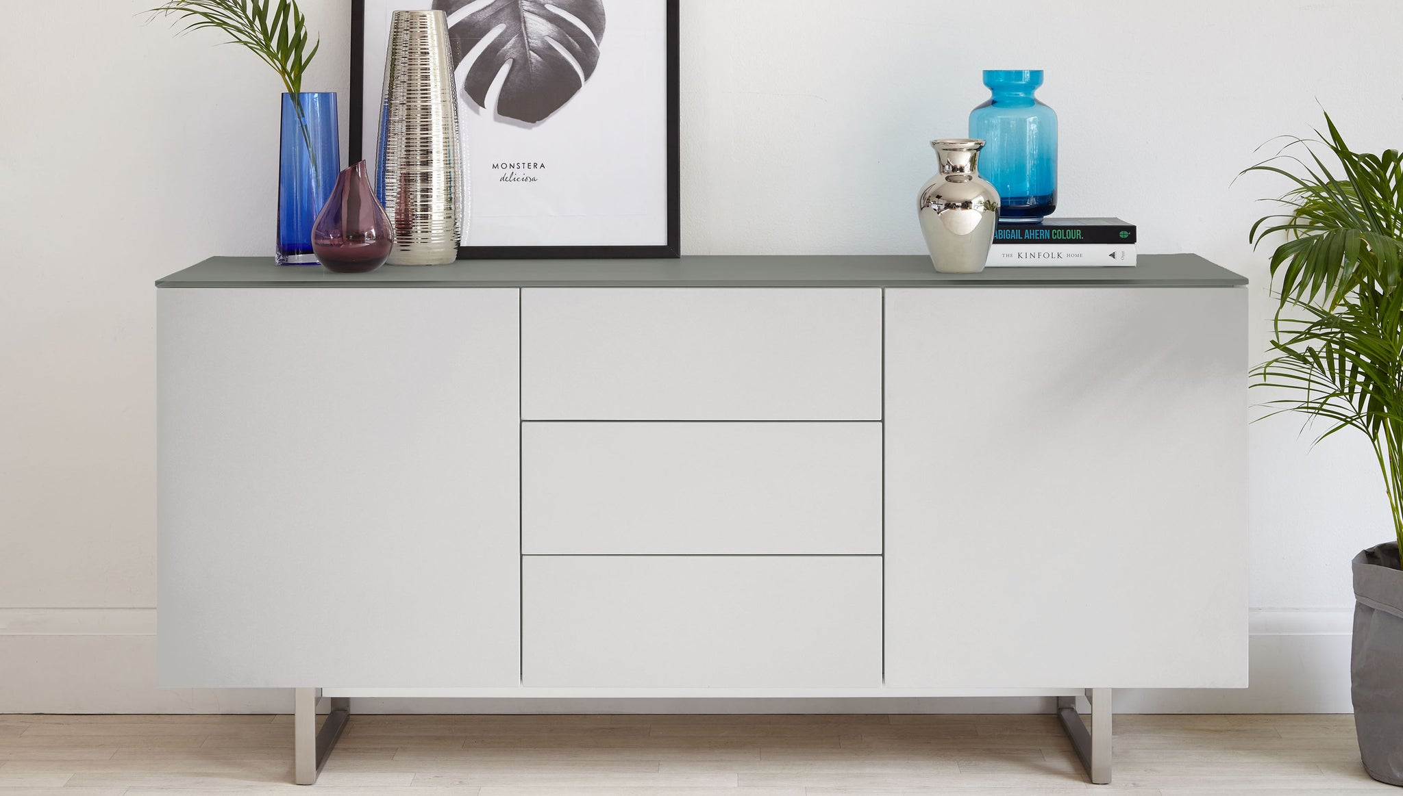 Eve Matt Grey & Frosted Glass Sideboard