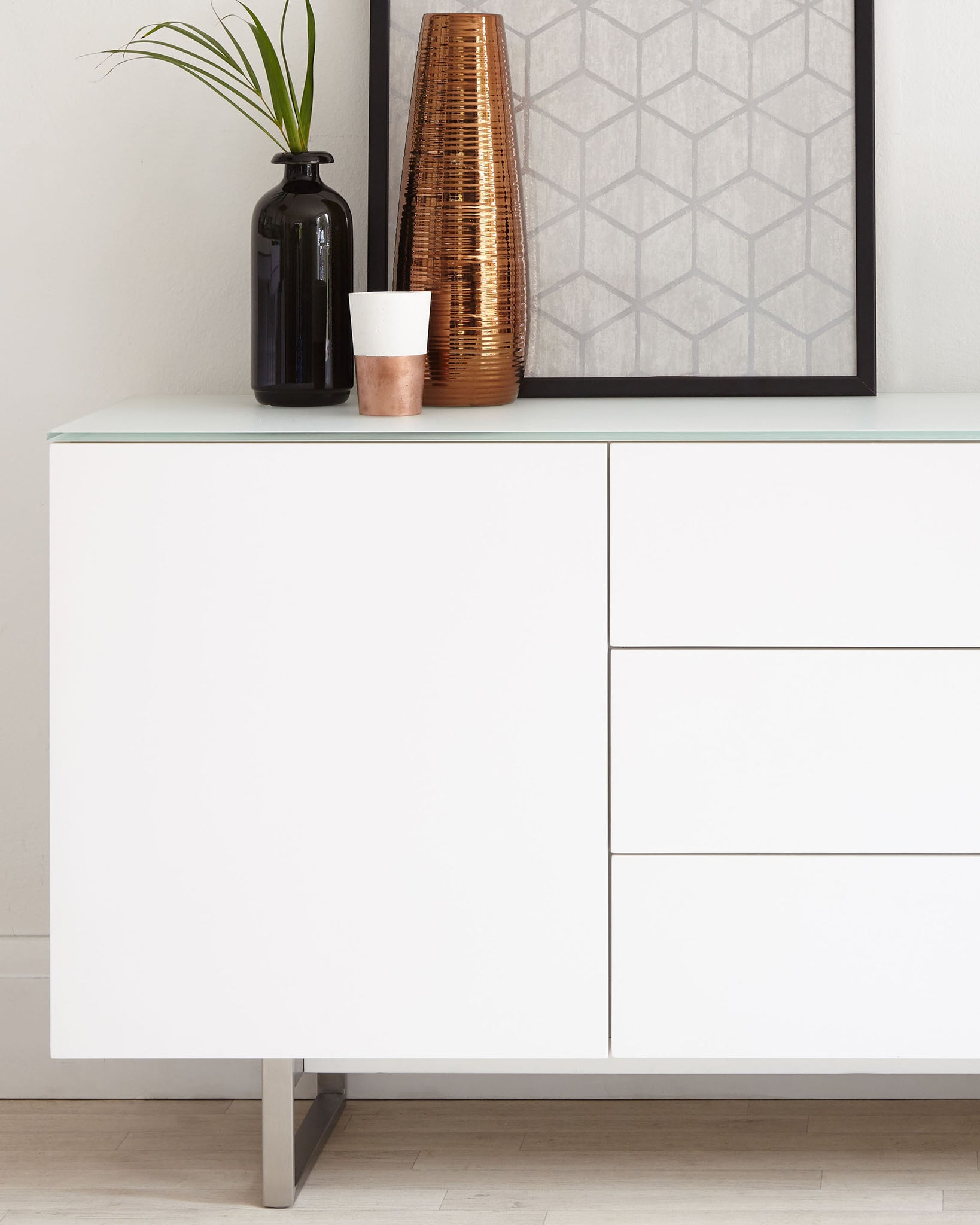 Eve Frosted White Tempered Glass And Matt White Sideboard
