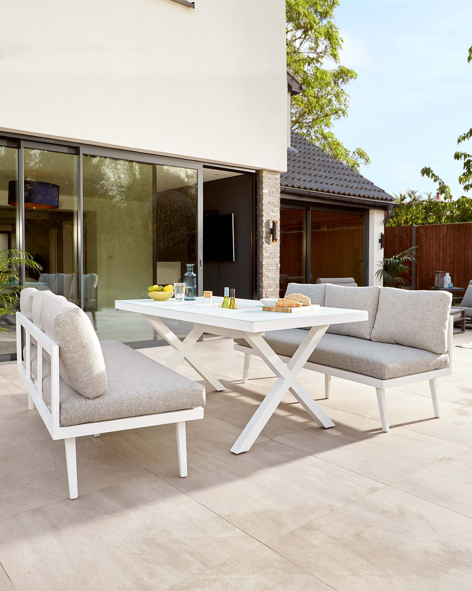 Rio White 6 Seater Dining Table and Bench Outdoor Dining Set