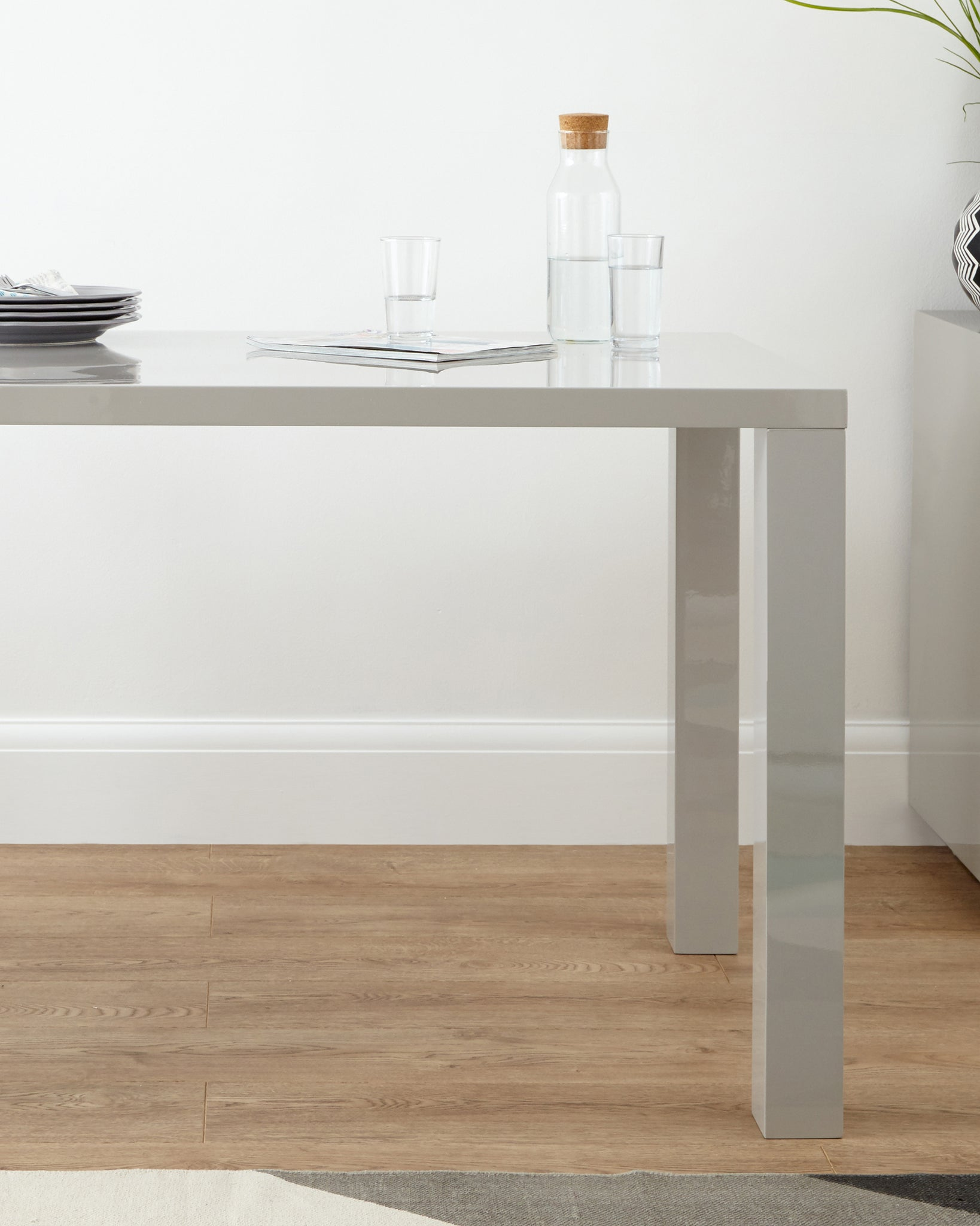 Fern Grey Gloss 4 Seater Dining Table