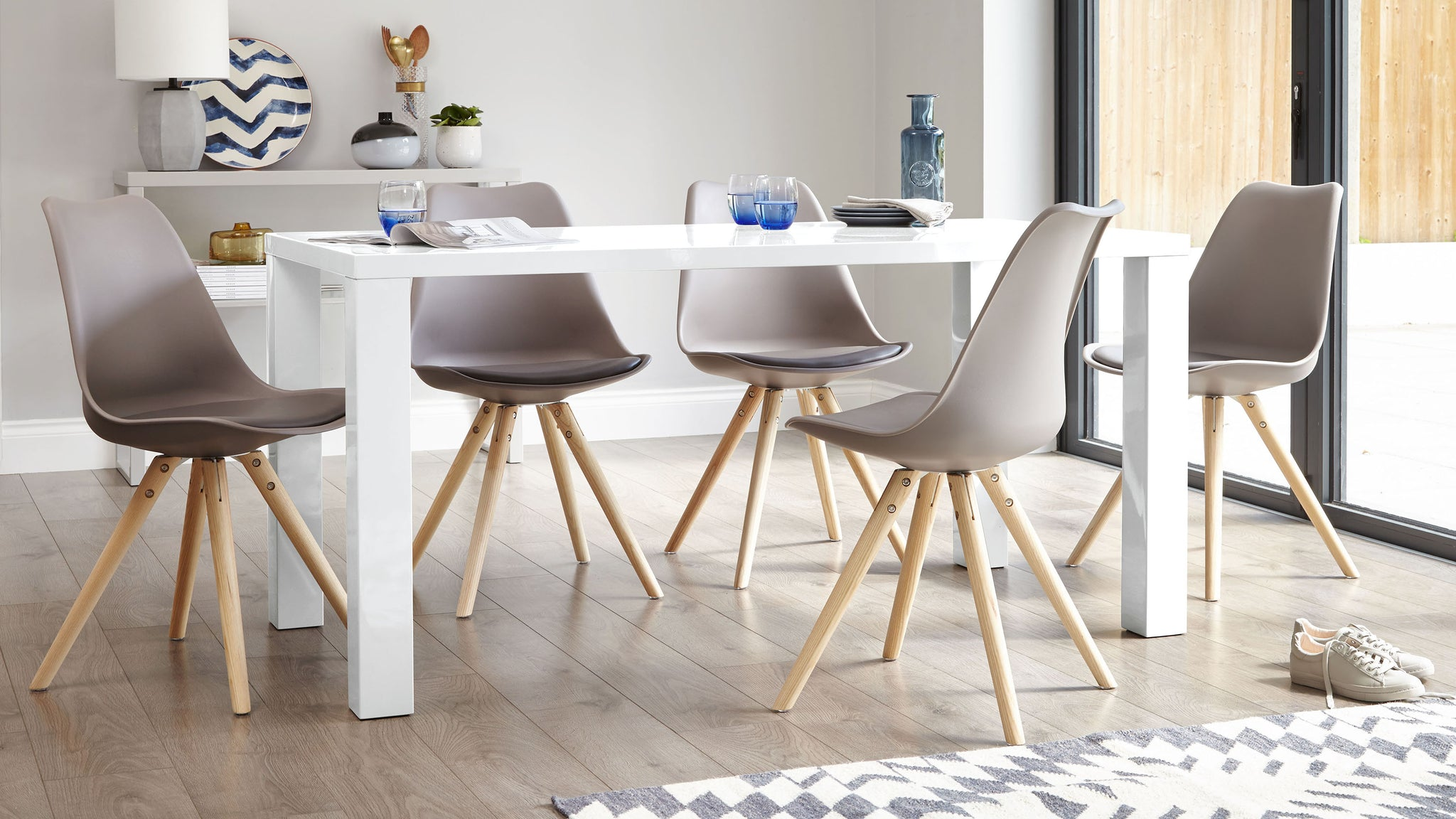 Fern White Gloss And Ida 6 Seater Dining Set