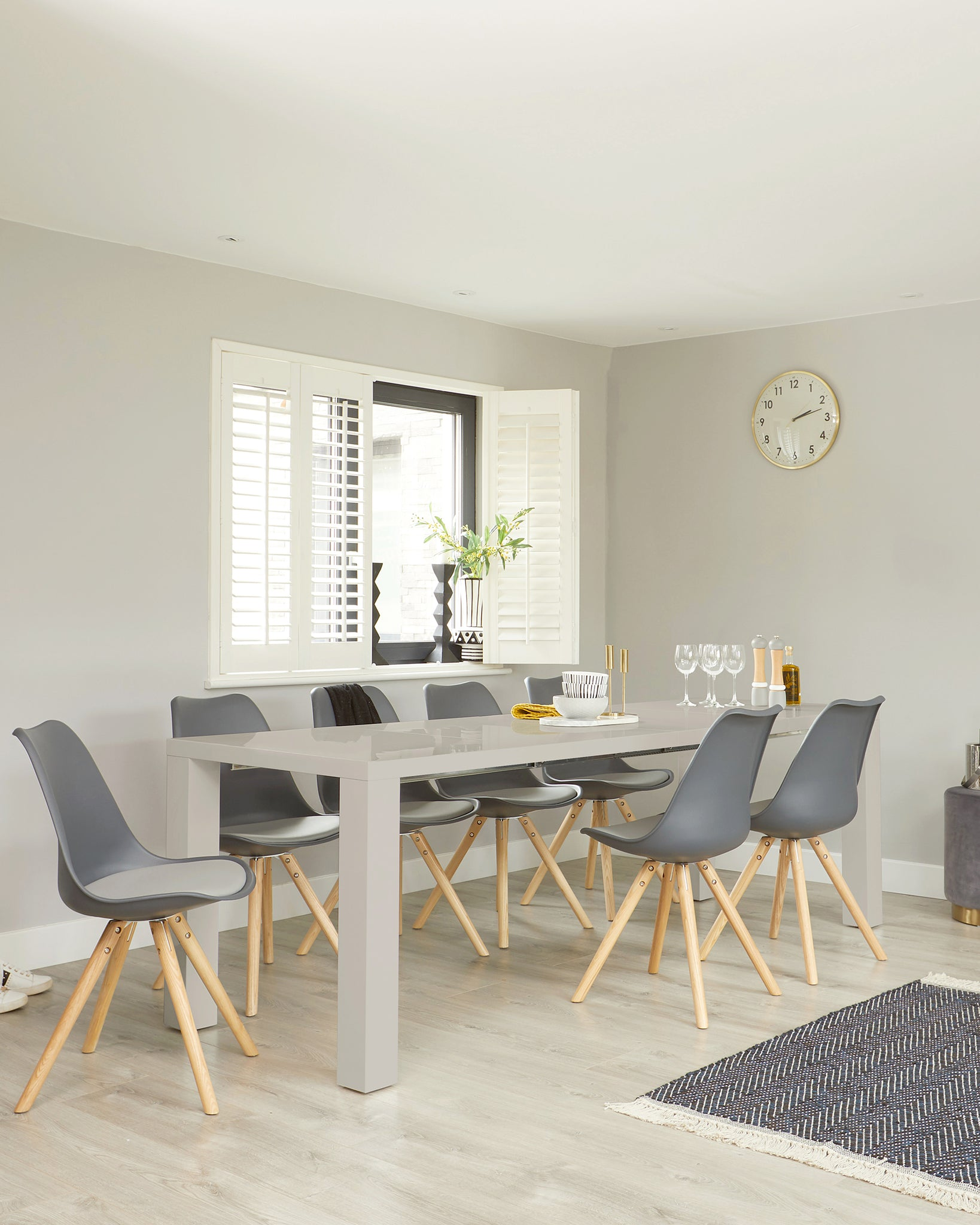 Fern Grey Gloss And Ida Extending Dining Set