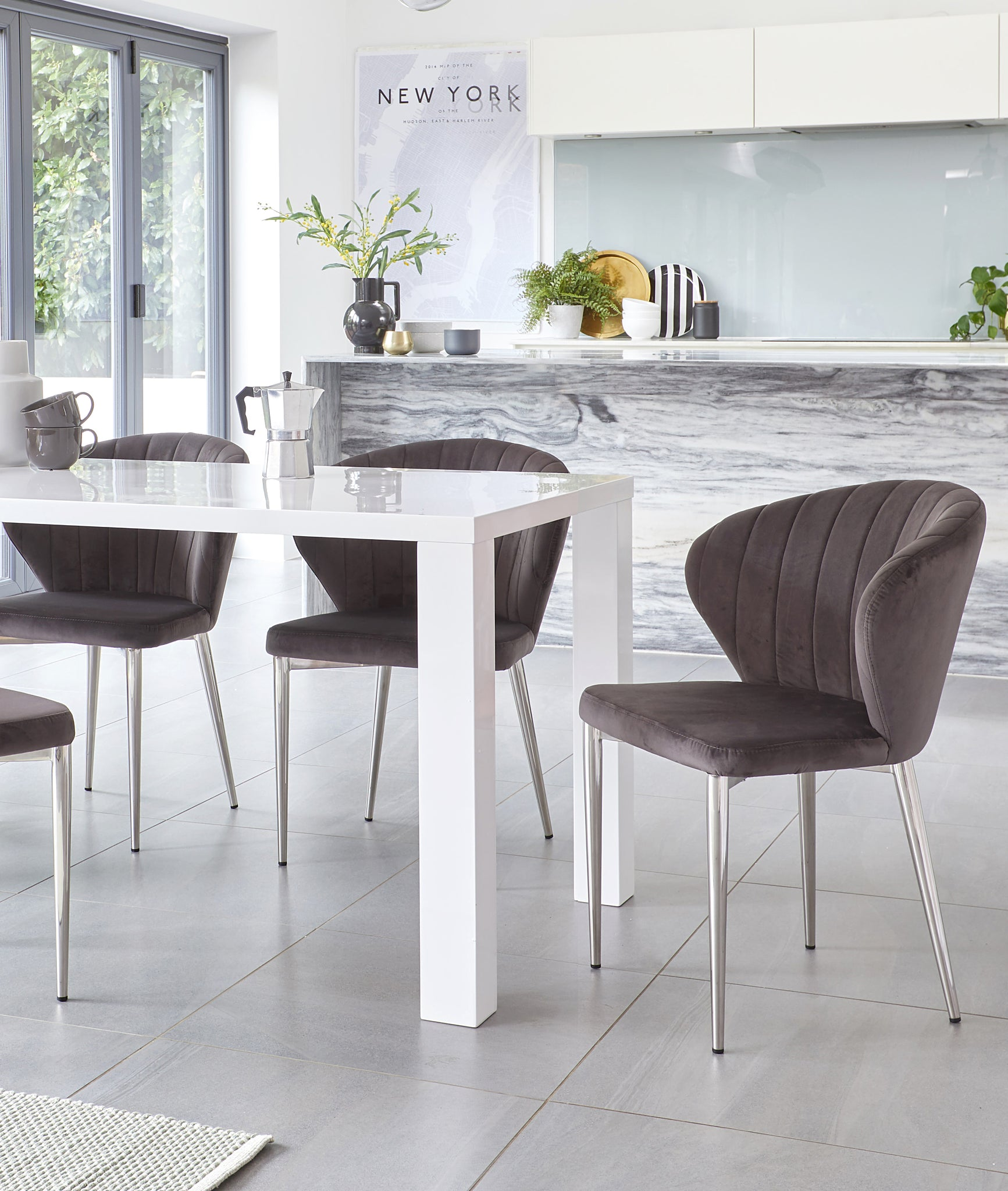 Fern White Gloss And Harper Dark Grey Velvet Dining Set