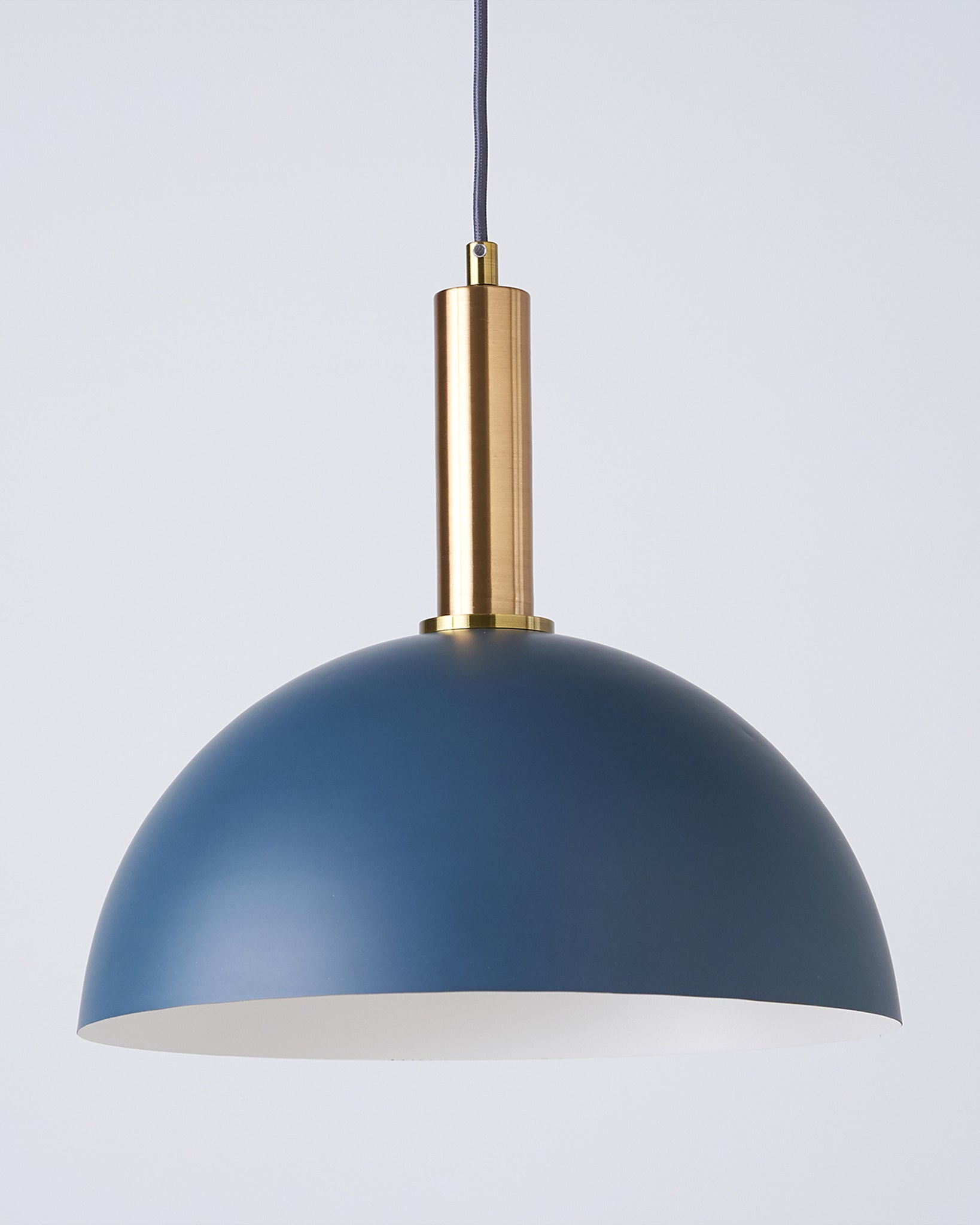 Fiesta Dome Teal And Brass Pendant Light