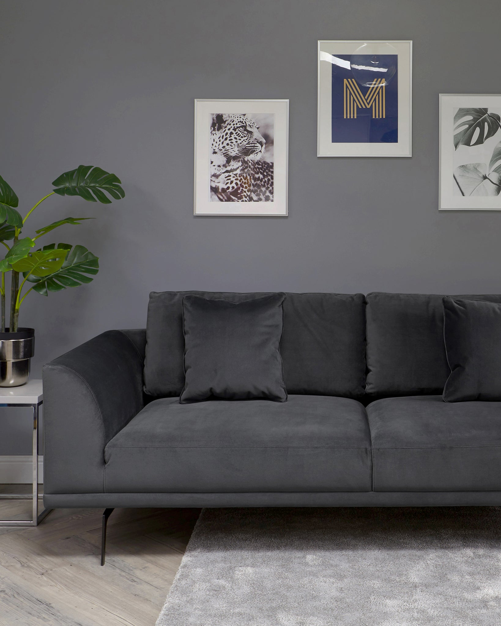 Florence Dark Grey Velvet With Black Leg 3 Seater Sofa