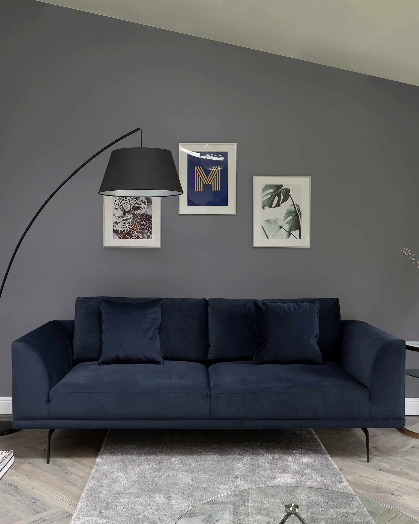 Florence Dark Blue Velvet With Black Leg 3 Seater Sofa