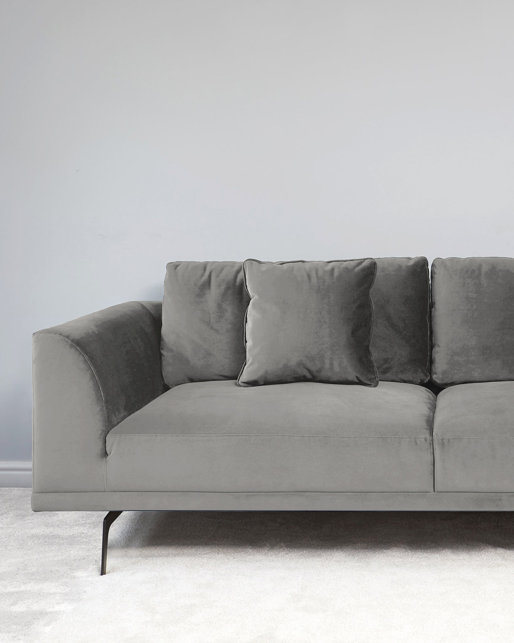 Florence Light Grey Velvet With Black Leg 3 Seater Sofa