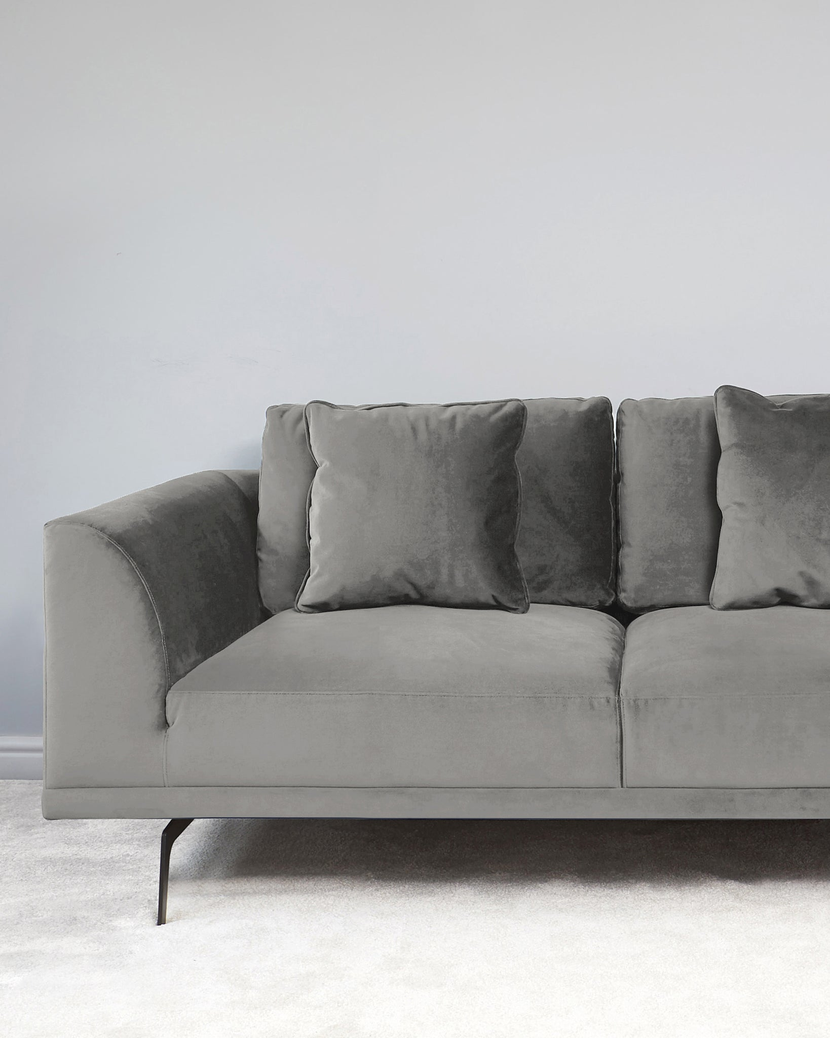 Florence Light Grey Velvet With Black Leg 2 Seater Sofa