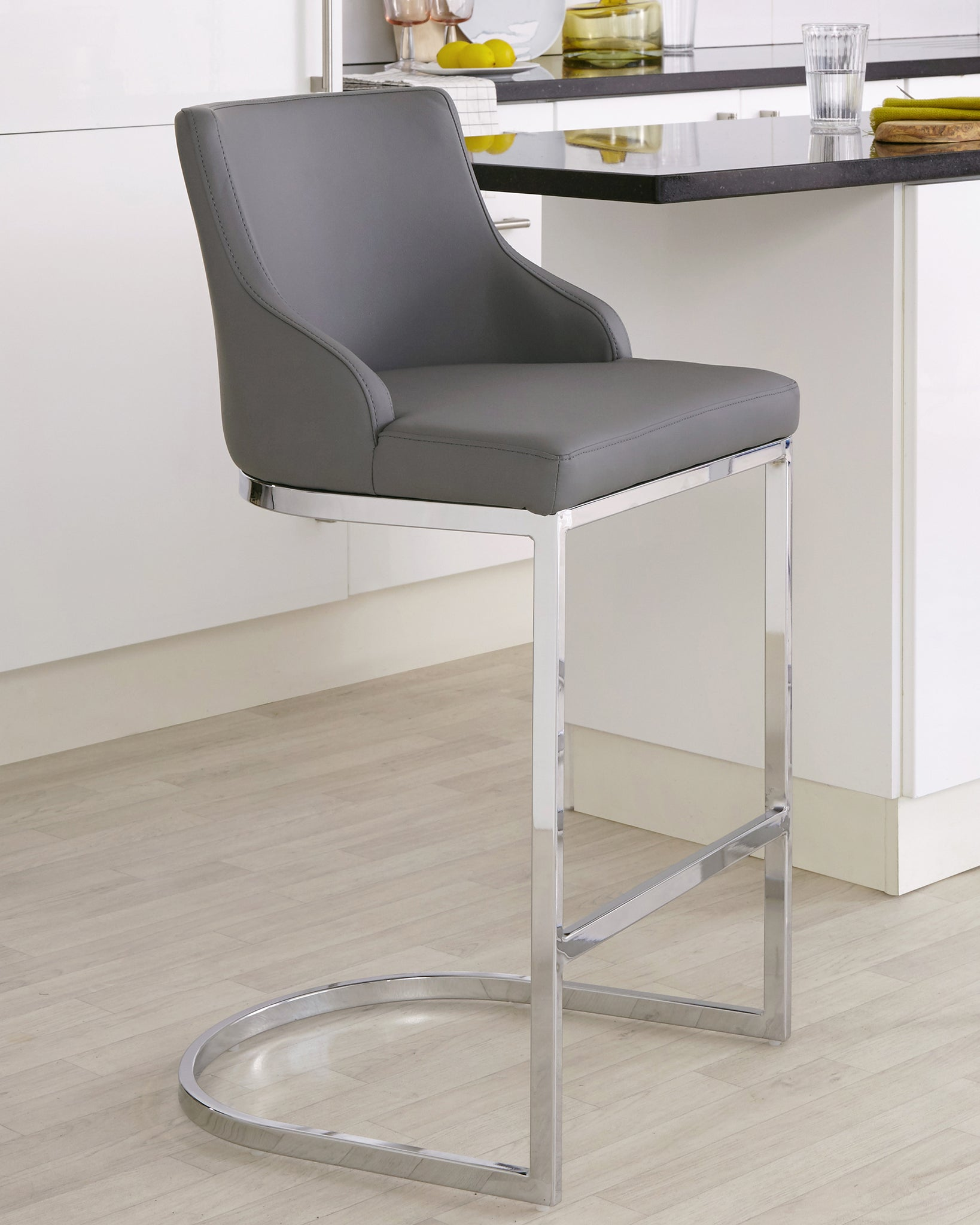 Form Grey & Chrome Bar Stool With Backrest - Set Of 2