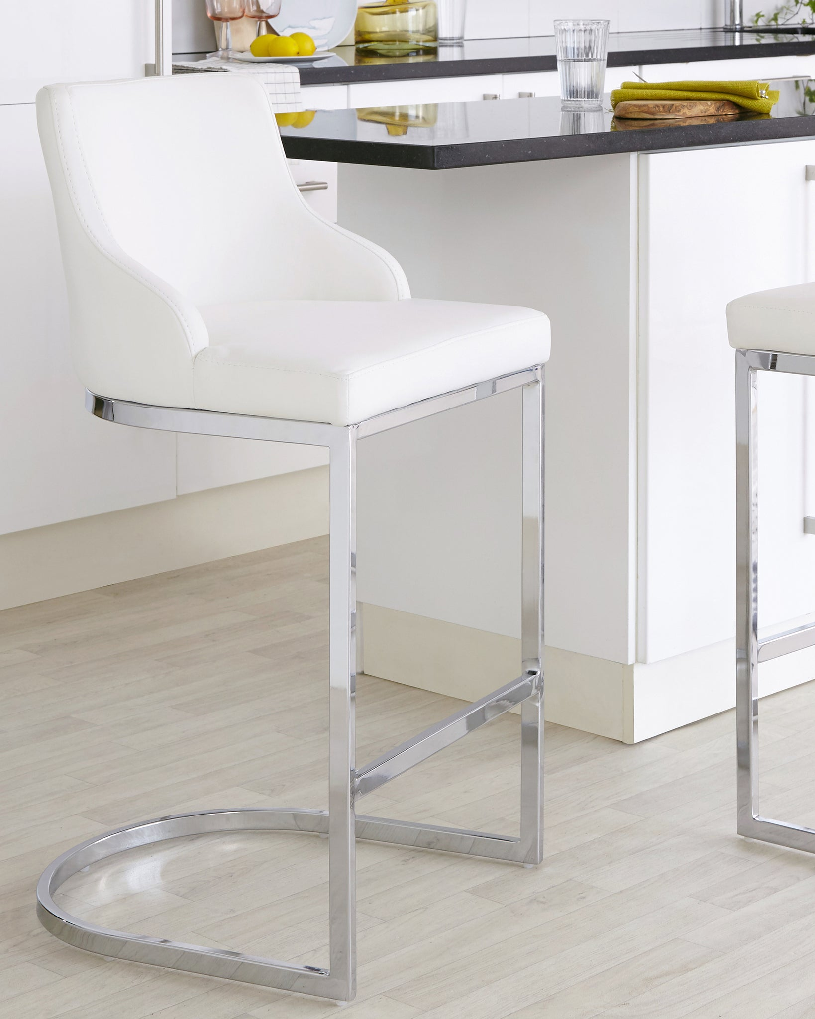 Form White & Chrome Bar Stool With Backrest - Set Of 2