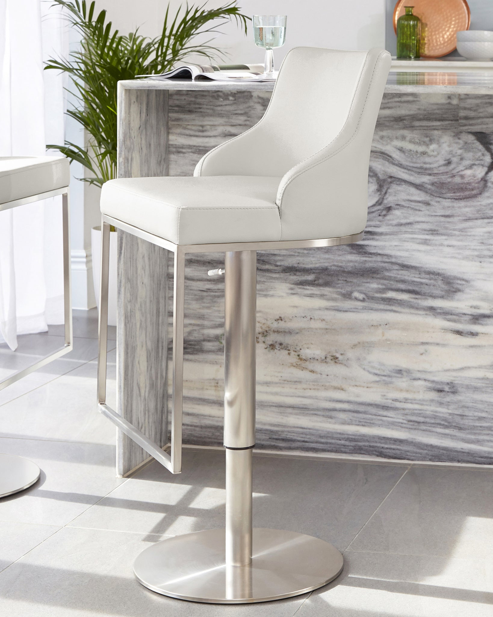 Form Light Grey Stainless Steel Gas Lift Bar Stool