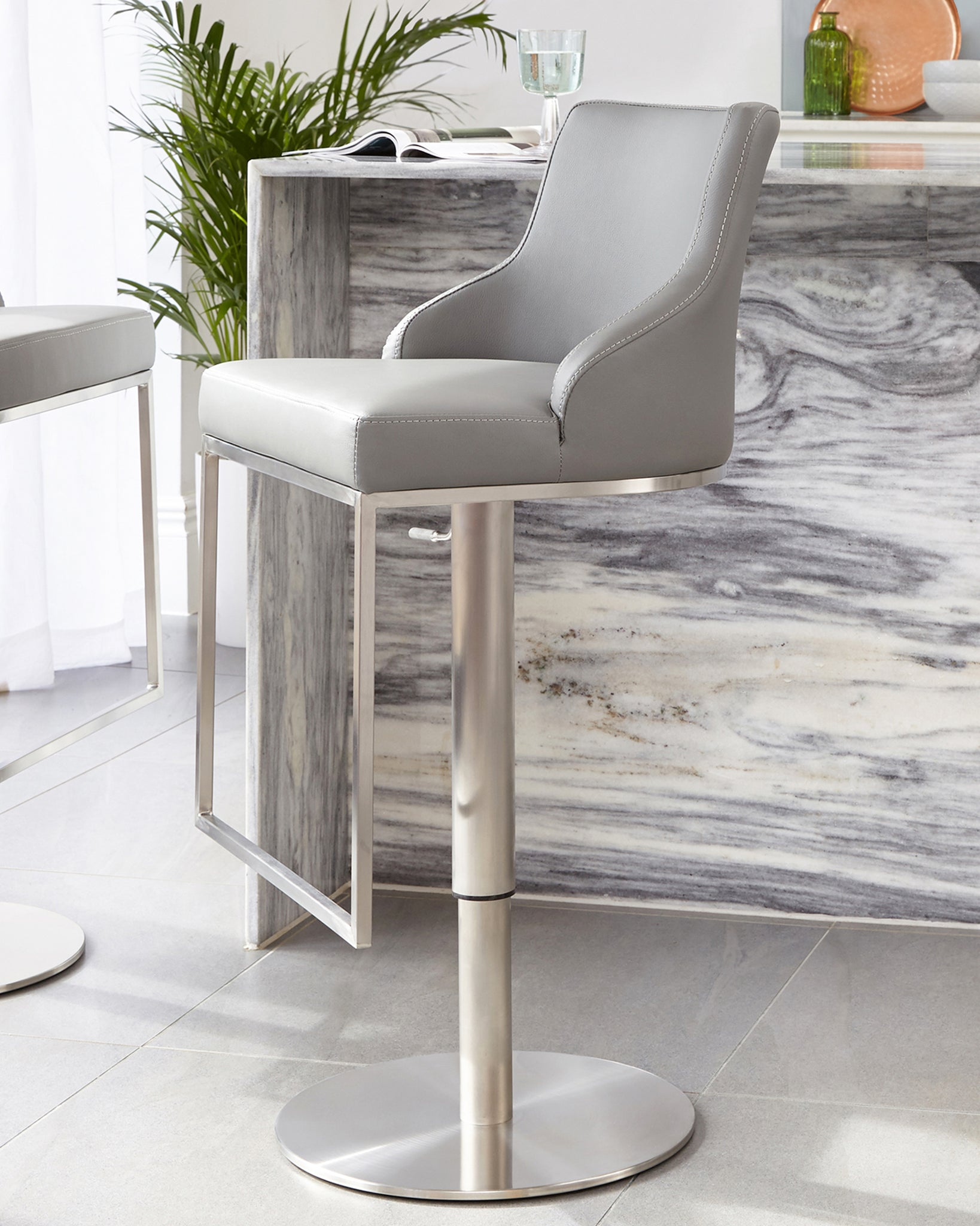 Form Grey Stainless Steel Gas Lift Bar Stool