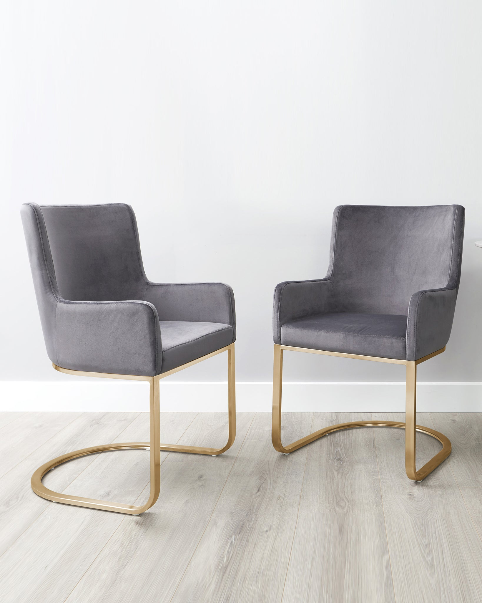 Form Dark Grey Velvet And Brass Cantilever Dining Armchair - Set Of 2