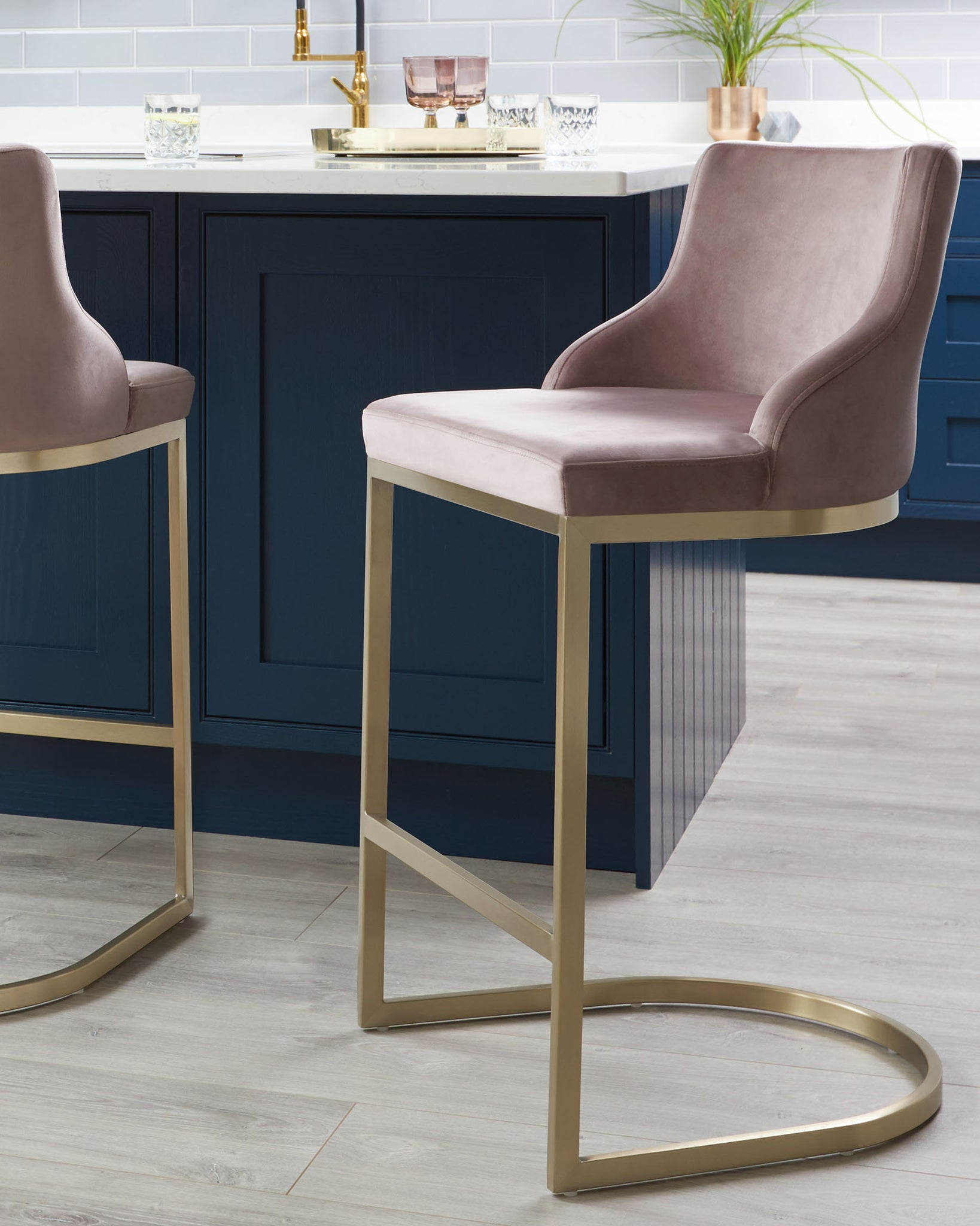 Form Blush Pink Velvet & Brass Bar Stool With Backrest - Set Of 2